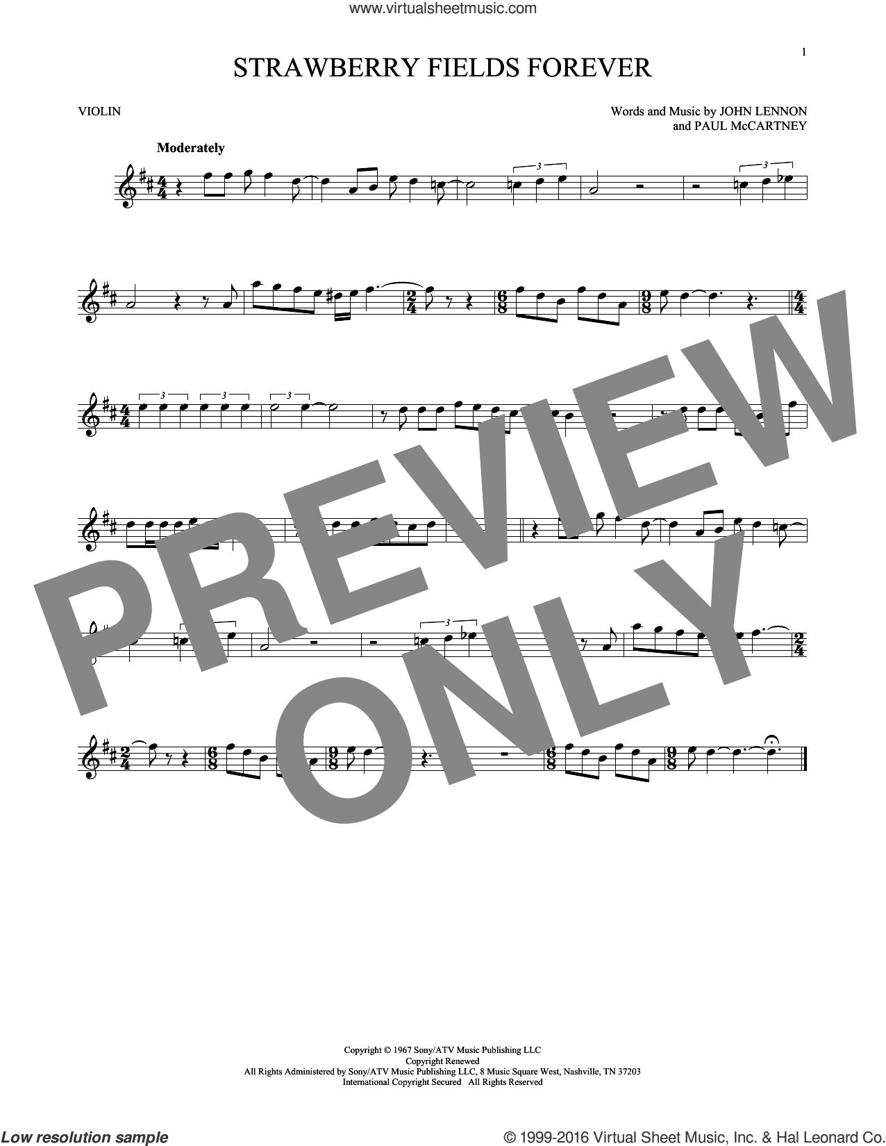 Strawberry Fields Forever sheet music for violin solo by The Beatles, John Lennon and Paul McCartney, intermediate skill level