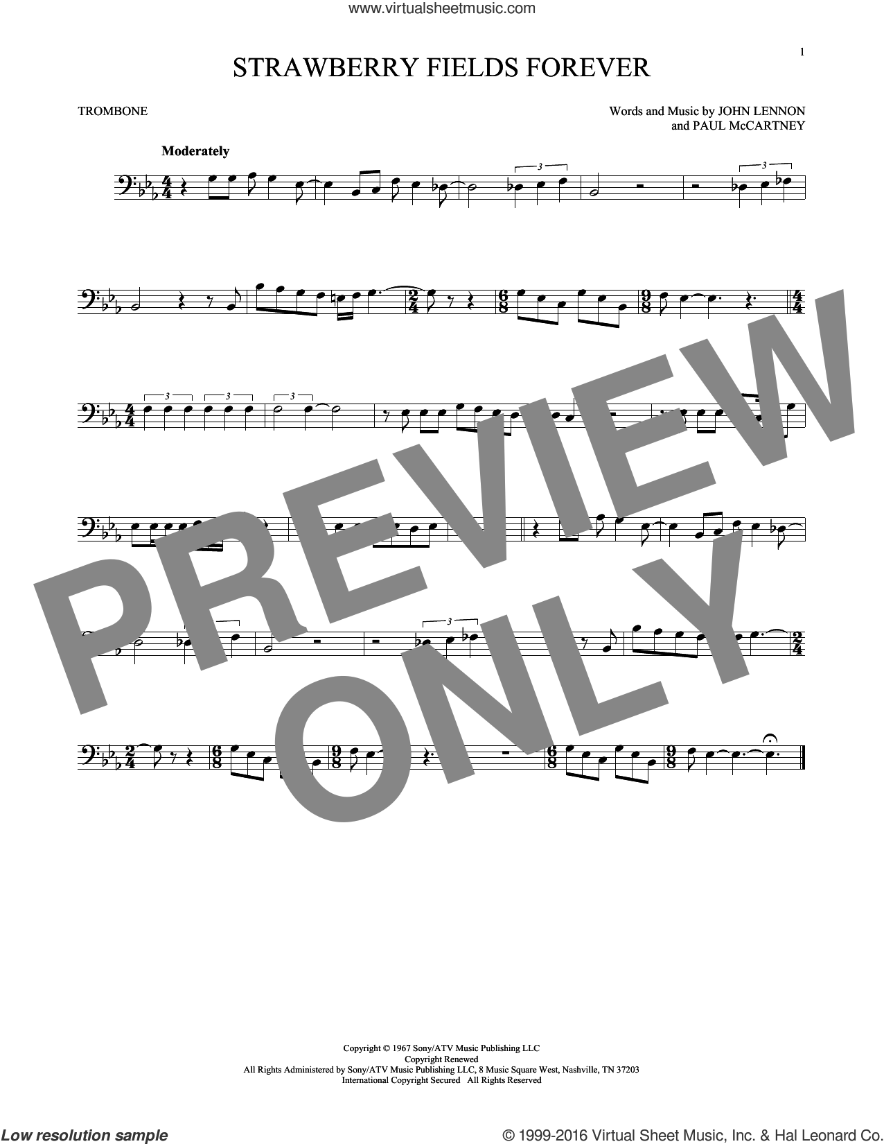Strawberry Fields Forever sheet music for trombone solo by Paul McCartney, The Beatles and John Lennon. Score Image Preview.