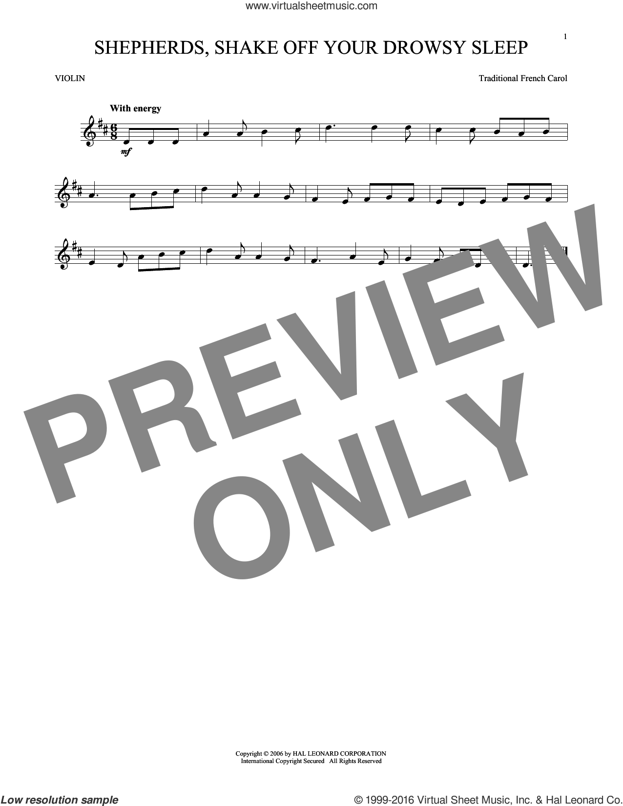 Shepherds, Shake Off Your Drowsy Sleep sheet music for violin solo. Score Image Preview.