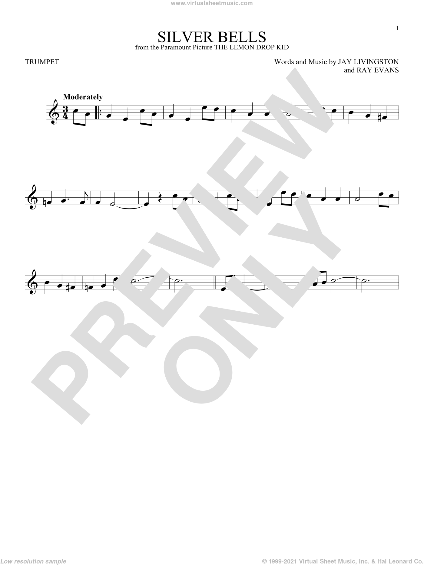 Silver Bells sheet music for trumpet solo by Jay Livingston, Jay Livingston & Ray Evans and Ray Evans, Christmas carol score, intermediate trumpet. Score Image Preview.