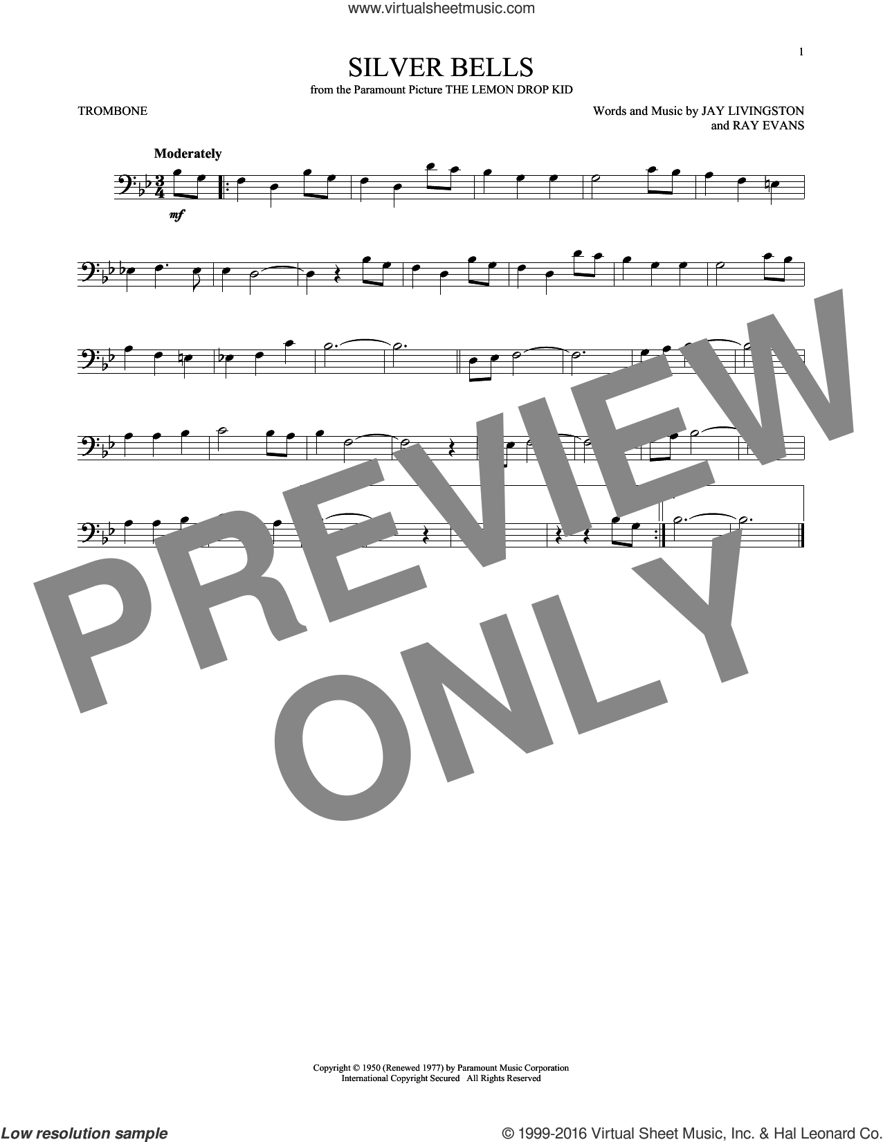 Silver Bells sheet music for trombone solo by Jay Livingston, Jay Livingston & Ray Evans and Ray Evans, intermediate. Score Image Preview.
