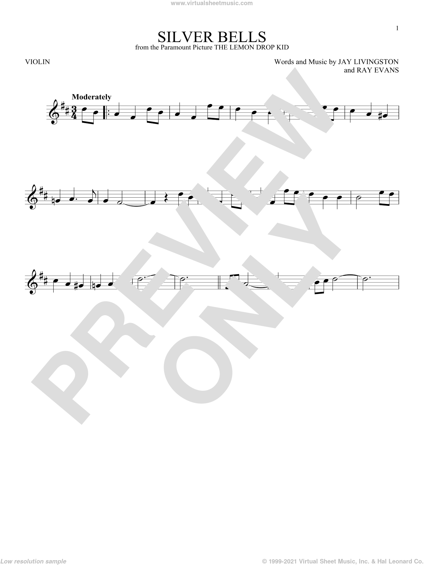 Silver Bells sheet music for violin solo by Ray Evans and Jay Livingston. Score Image Preview.