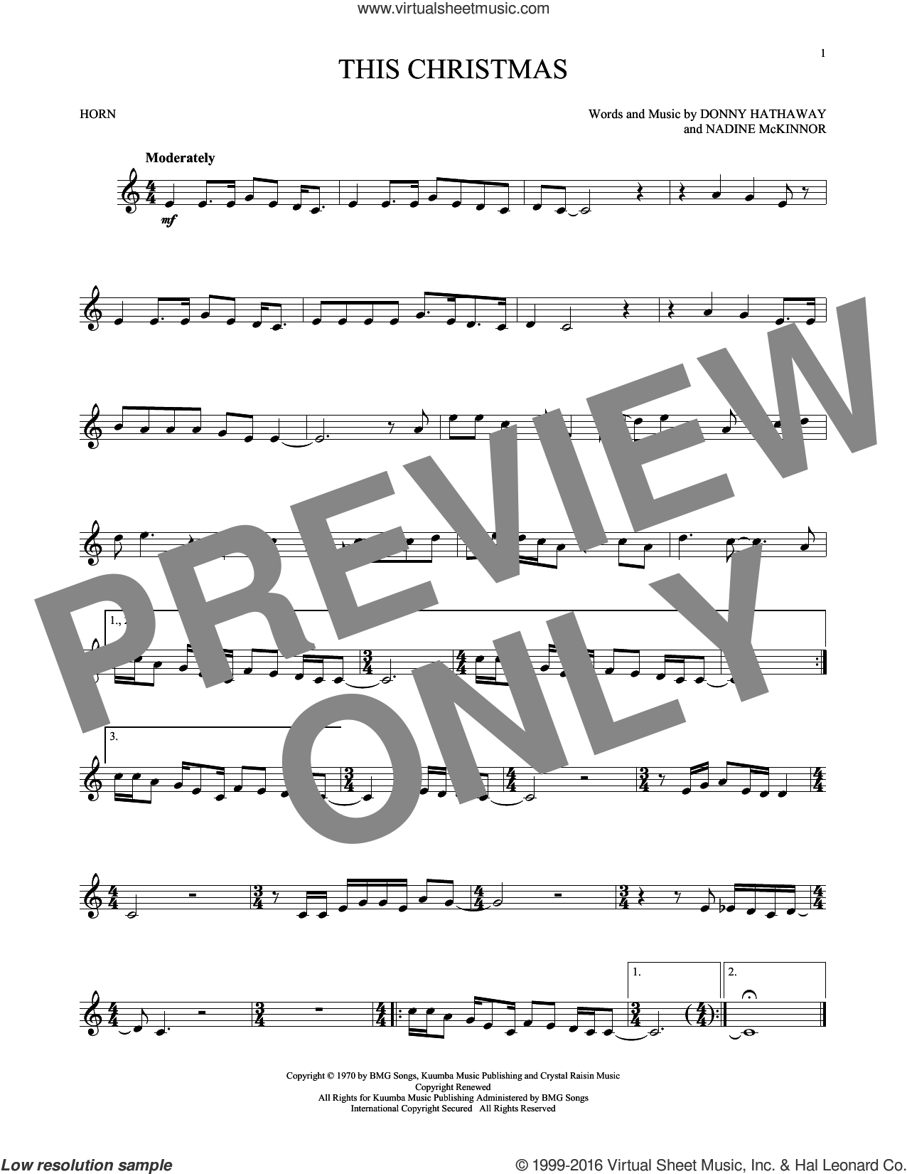 This Christmas sheet music for horn solo by Donny Hathaway and Nadine McKinnor, intermediate. Score Image Preview.