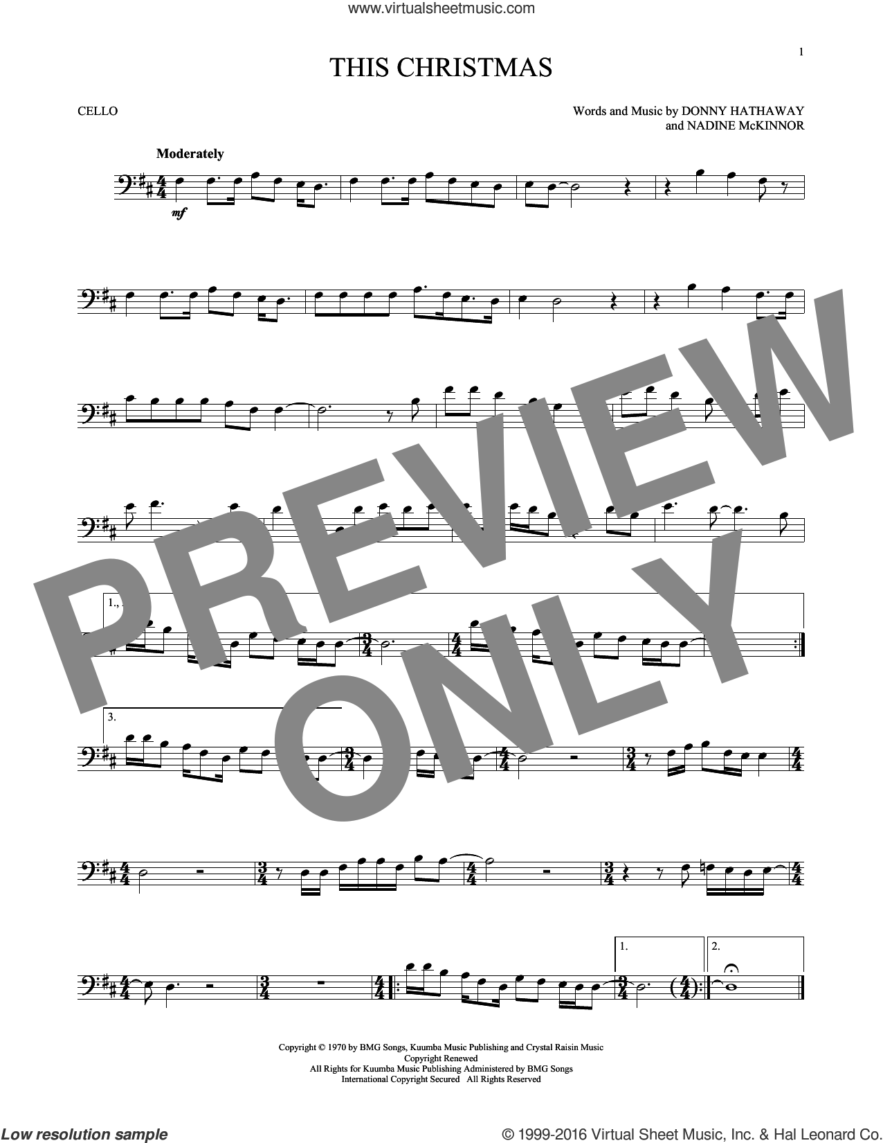 This Christmas sheet music for cello solo by Nadine McKinnor and Donny Hathaway. Score Image Preview.