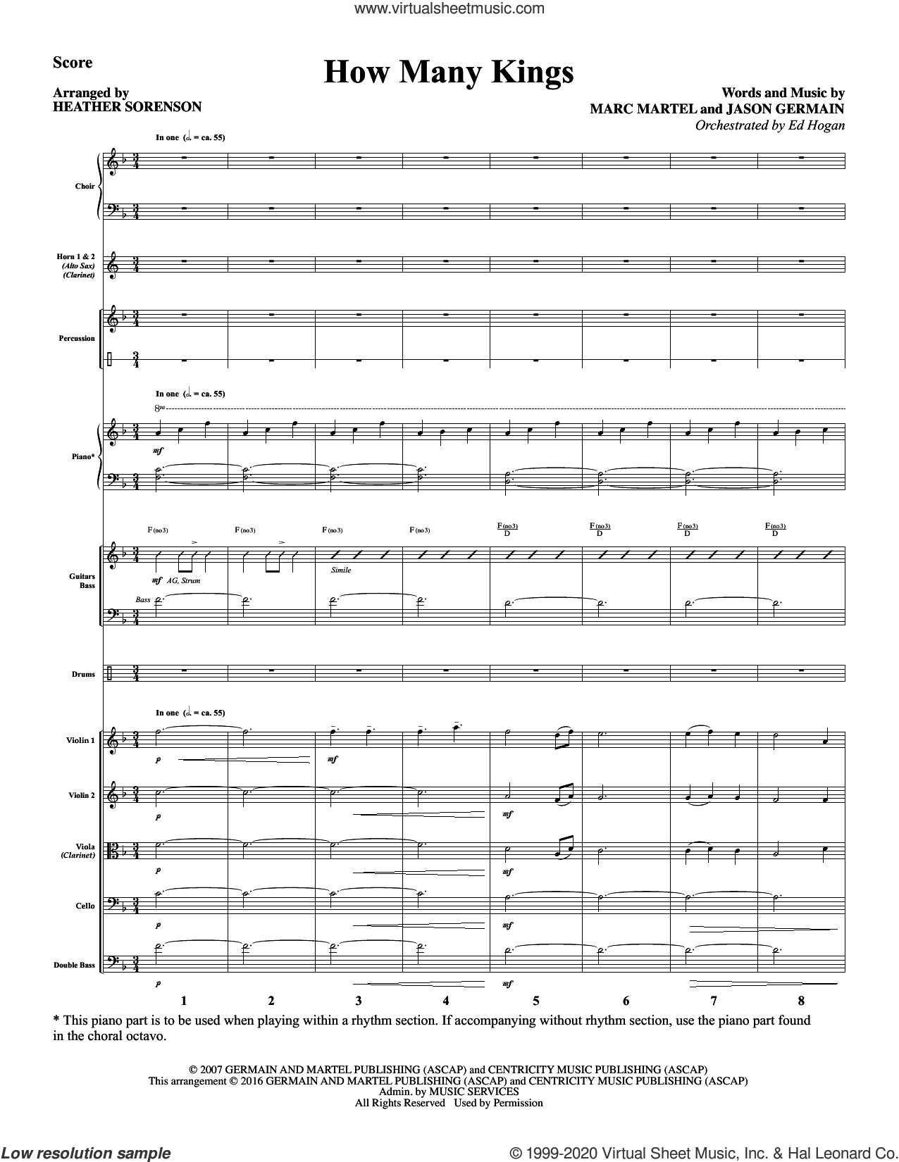 How Many Kings (COMPLETE) sheet music for orchestra/band by Heather Sorenson, Jason Germain and Marc Martel, intermediate skill level
