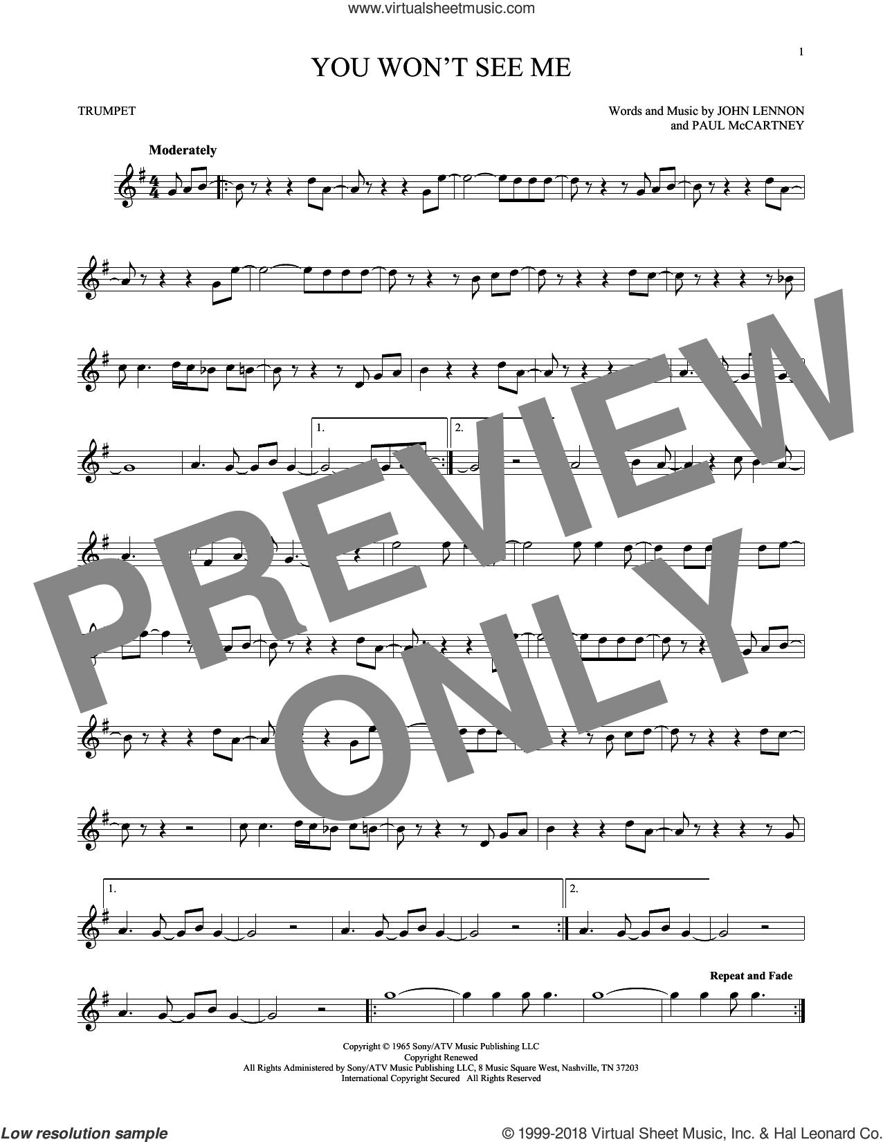 You Won't See Me sheet music for trumpet solo by Paul McCartney, The Beatles and John Lennon. Score Image Preview.