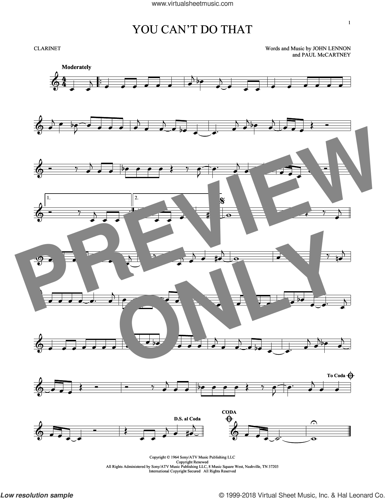 You Can't Do That sheet music for clarinet solo by Paul McCartney, The Beatles and John Lennon. Score Image Preview.