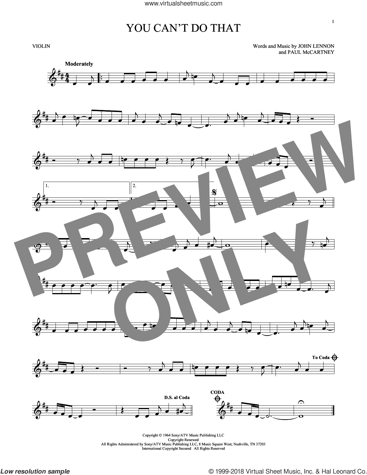 You Can't Do That sheet music for violin solo by Paul McCartney, The Beatles and John Lennon. Score Image Preview.
