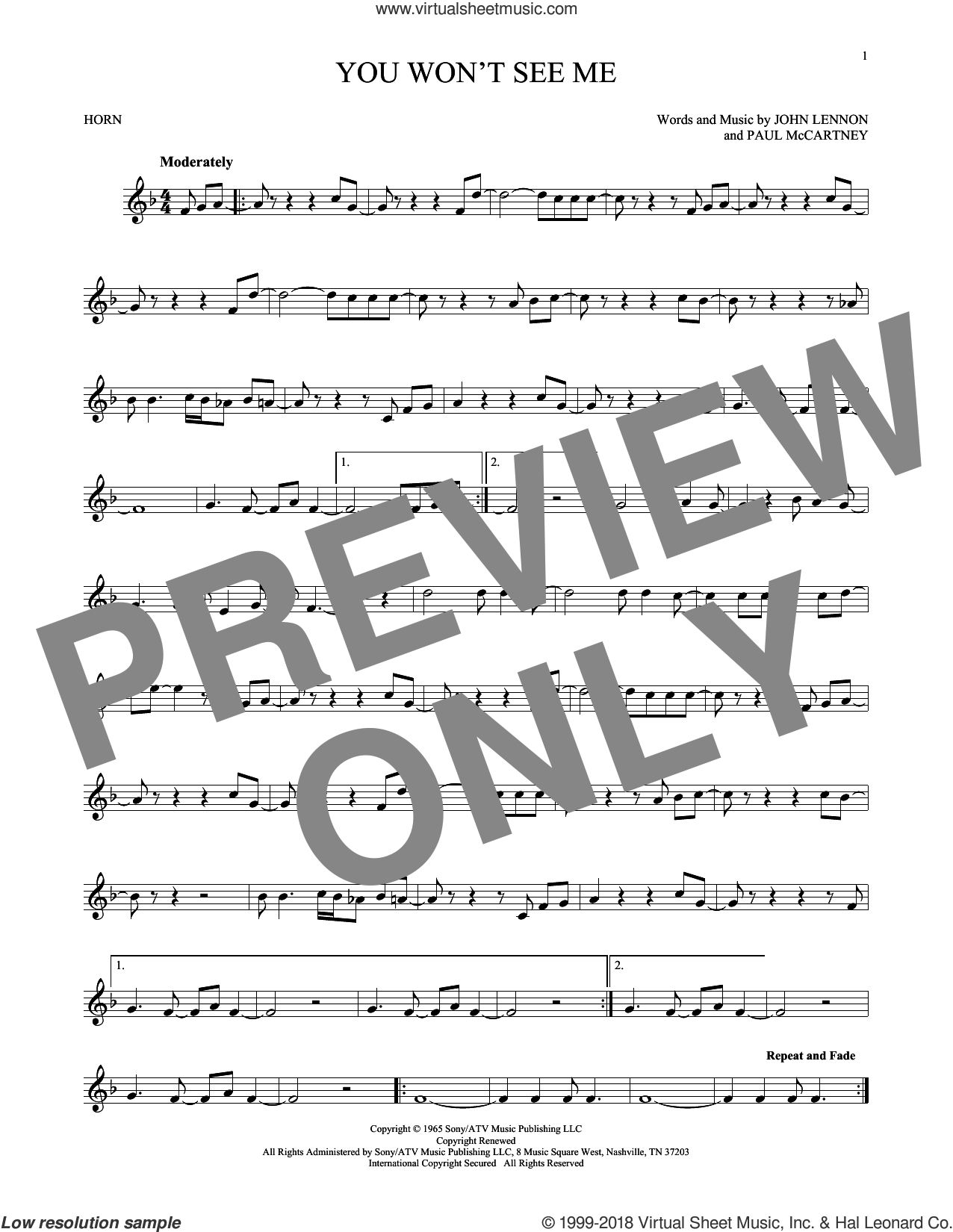 You Won't See Me sheet music for horn solo by The Beatles, John Lennon and Paul McCartney, intermediate horn. Score Image Preview.