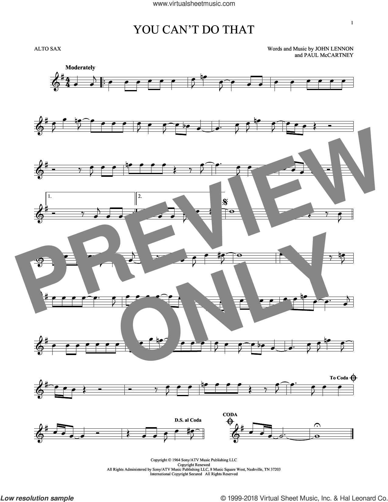 You Can't Do That sheet music for alto saxophone solo by The Beatles, John Lennon and Paul McCartney, intermediate. Score Image Preview.
