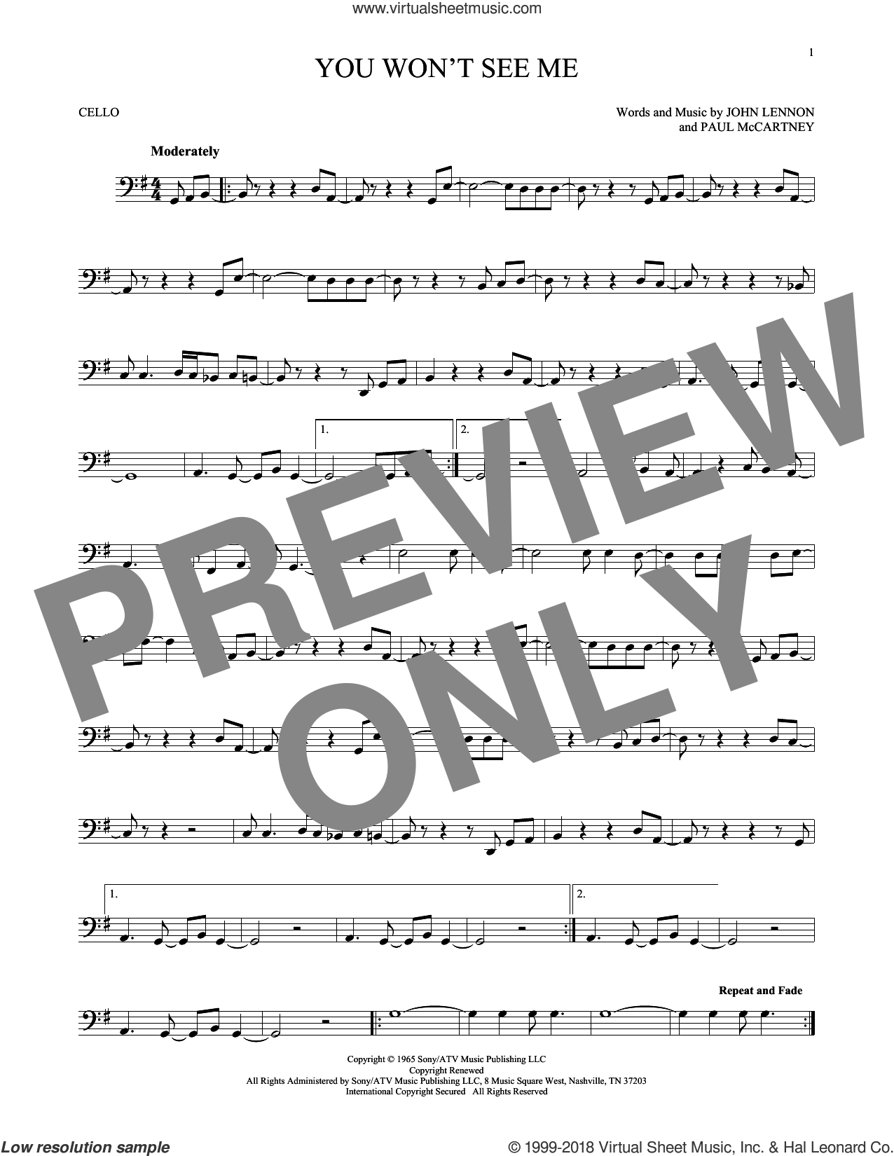 You Won't See Me sheet music for cello solo by The Beatles, John Lennon and Paul McCartney, intermediate skill level