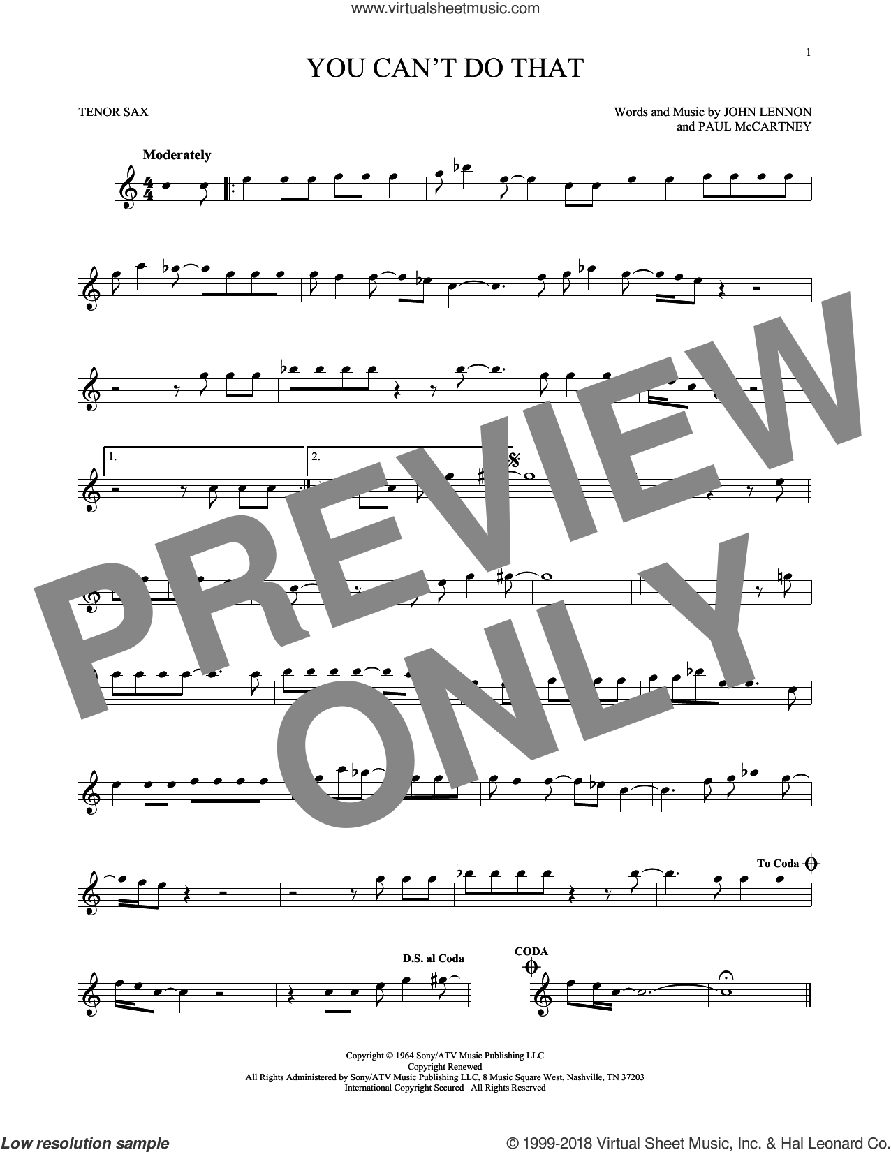 You Can't Do That sheet music for tenor saxophone solo by Paul McCartney, The Beatles and John Lennon. Score Image Preview.