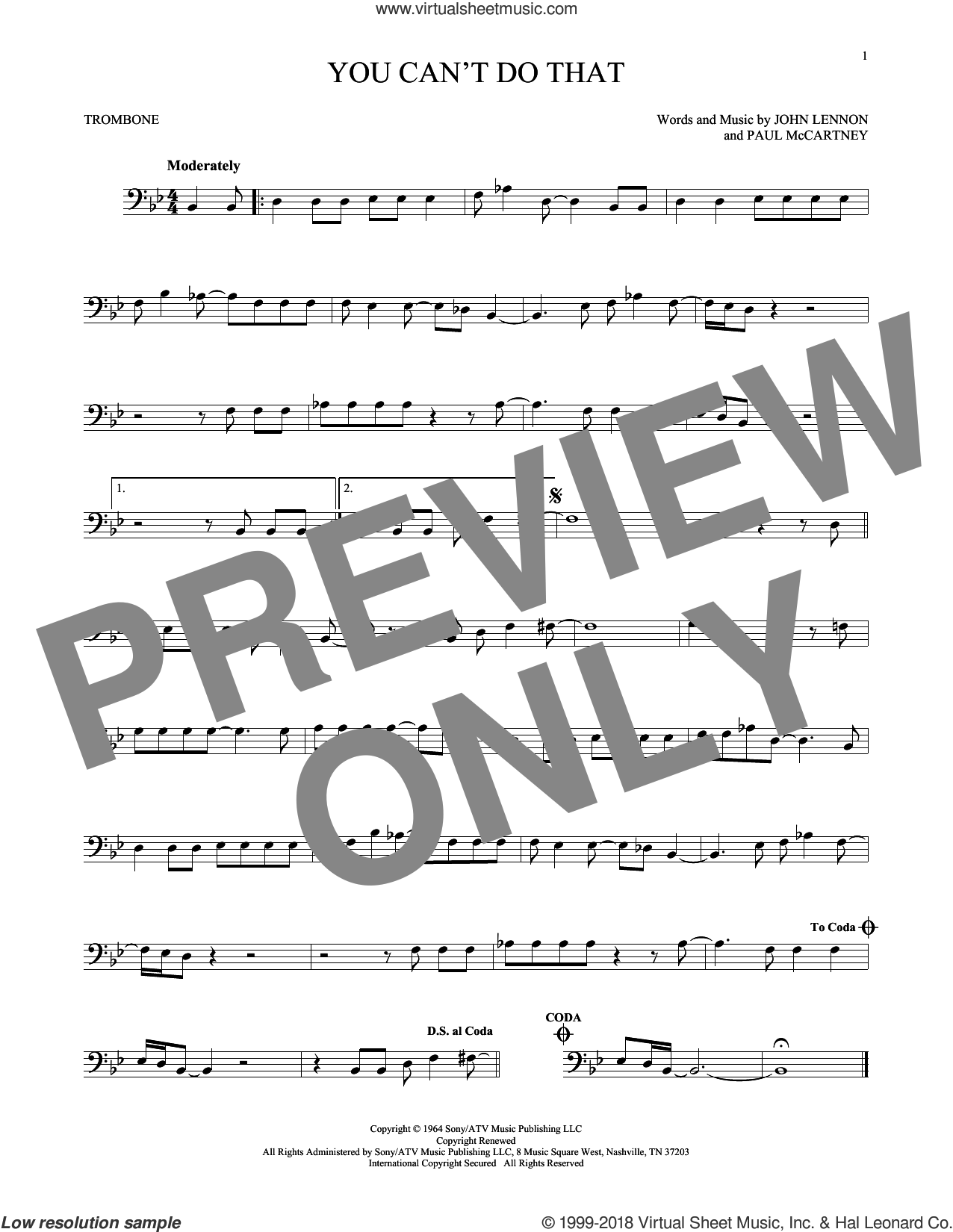 You Can't Do That sheet music for trombone solo by The Beatles, John Lennon and Paul McCartney, intermediate. Score Image Preview.