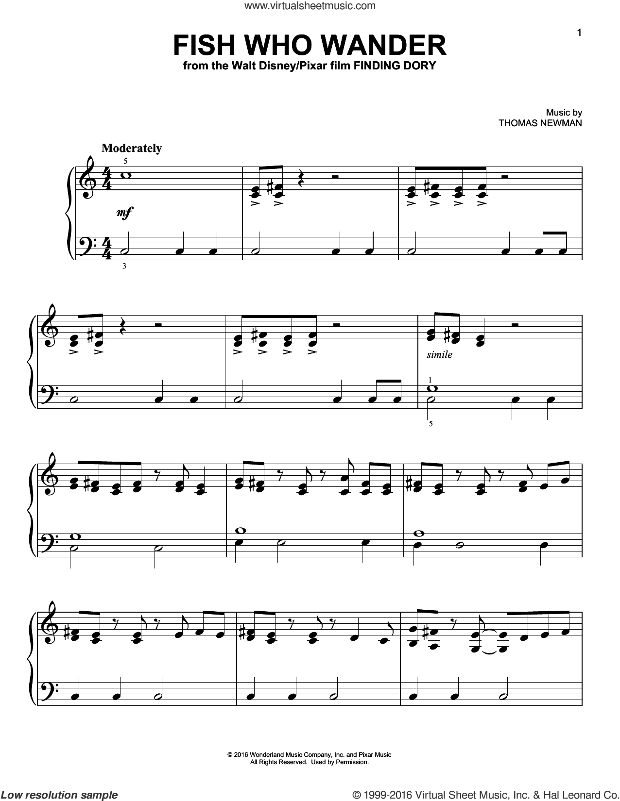 Fish Who Wander sheet music for piano solo by Thomas Newman, easy skill level
