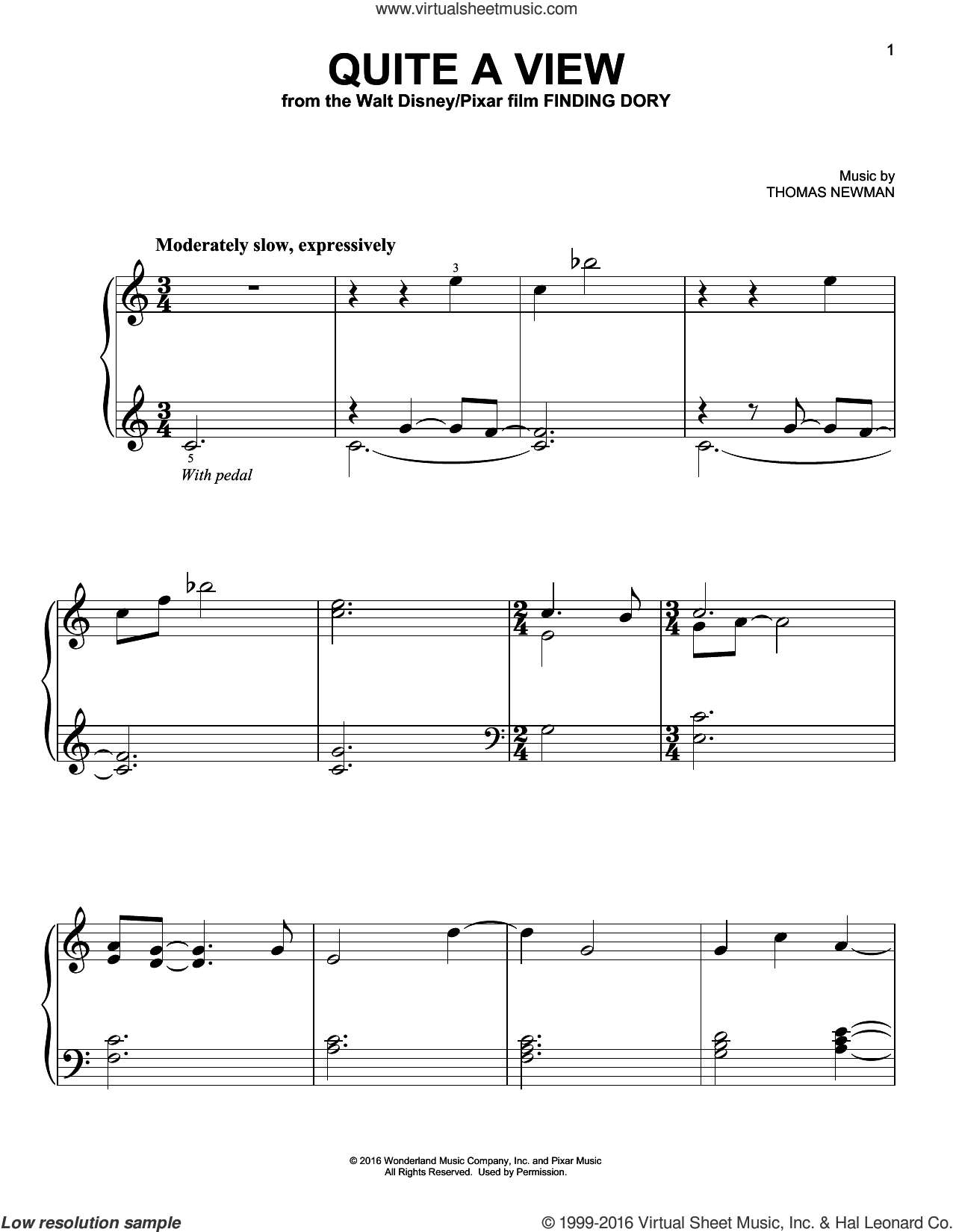 Quite A View sheet music for piano solo by Thomas Newman. Score Image Preview.