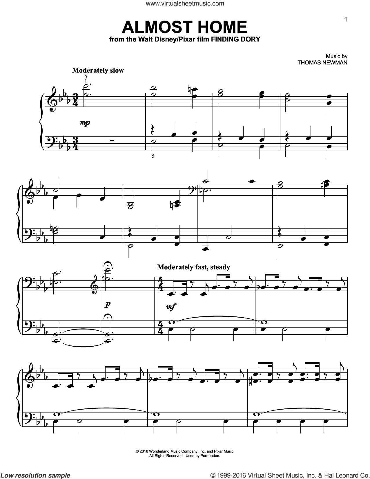 Almost Home sheet music for piano solo by Thomas Newman. Score Image Preview.