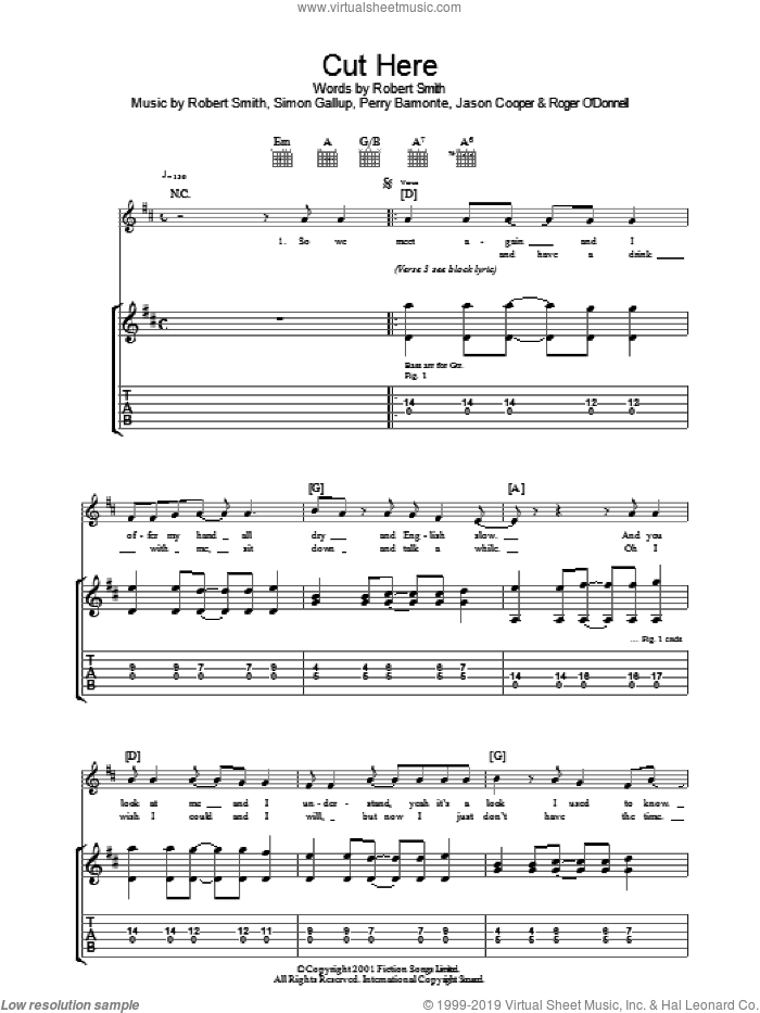 Cut Here sheet music for guitar (tablature) by Jason Cooper