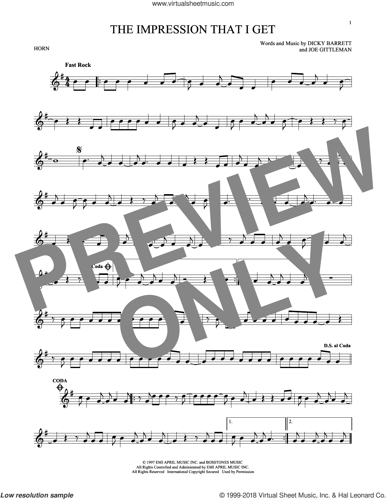 The Impression That I Get sheet music for horn solo by Joe Gittleman. Score Image Preview.