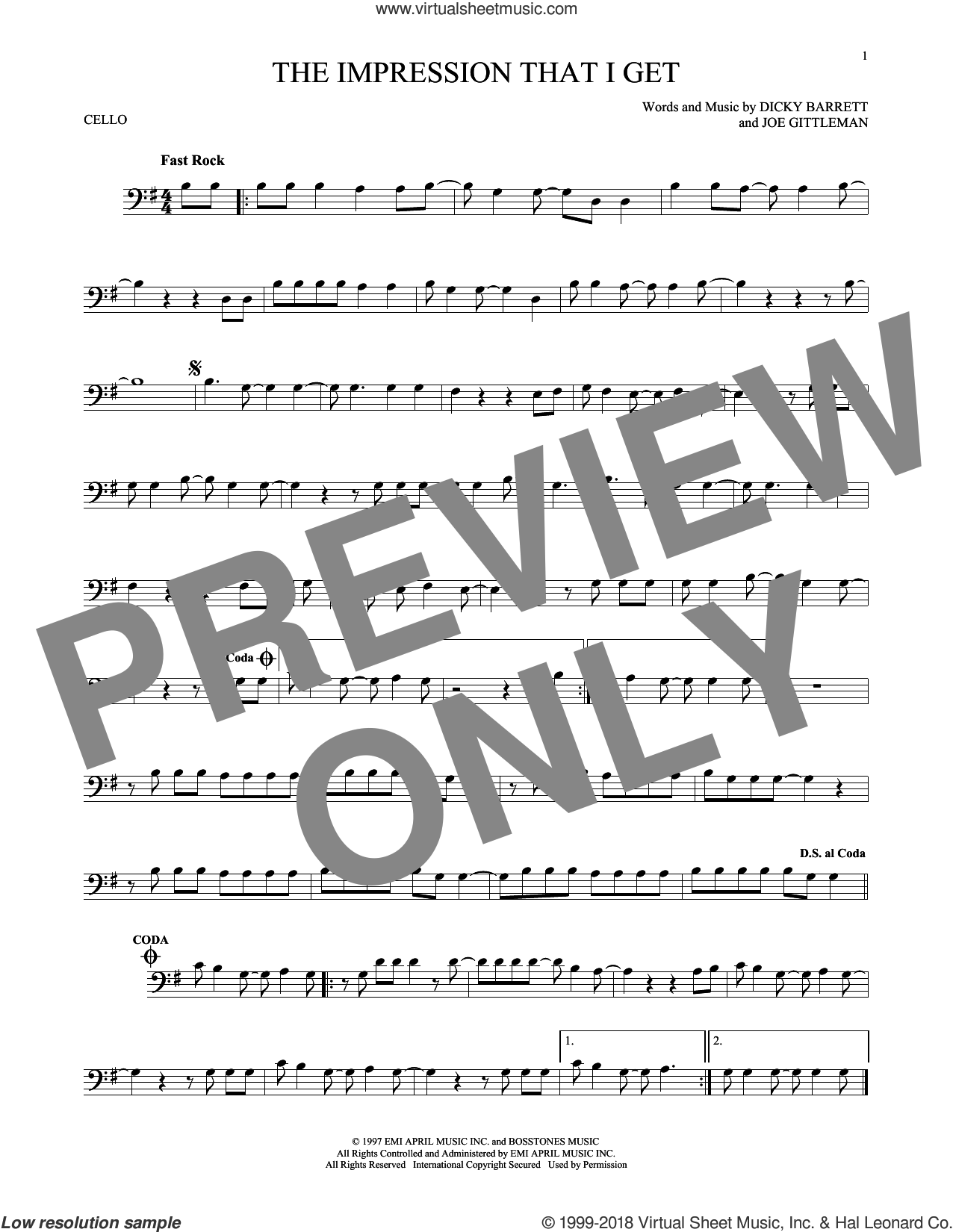 The Impression That I Get sheet music for cello solo by The Mighty Mighty Bosstones, Dicky Barrett and Joe Gittleman, intermediate skill level