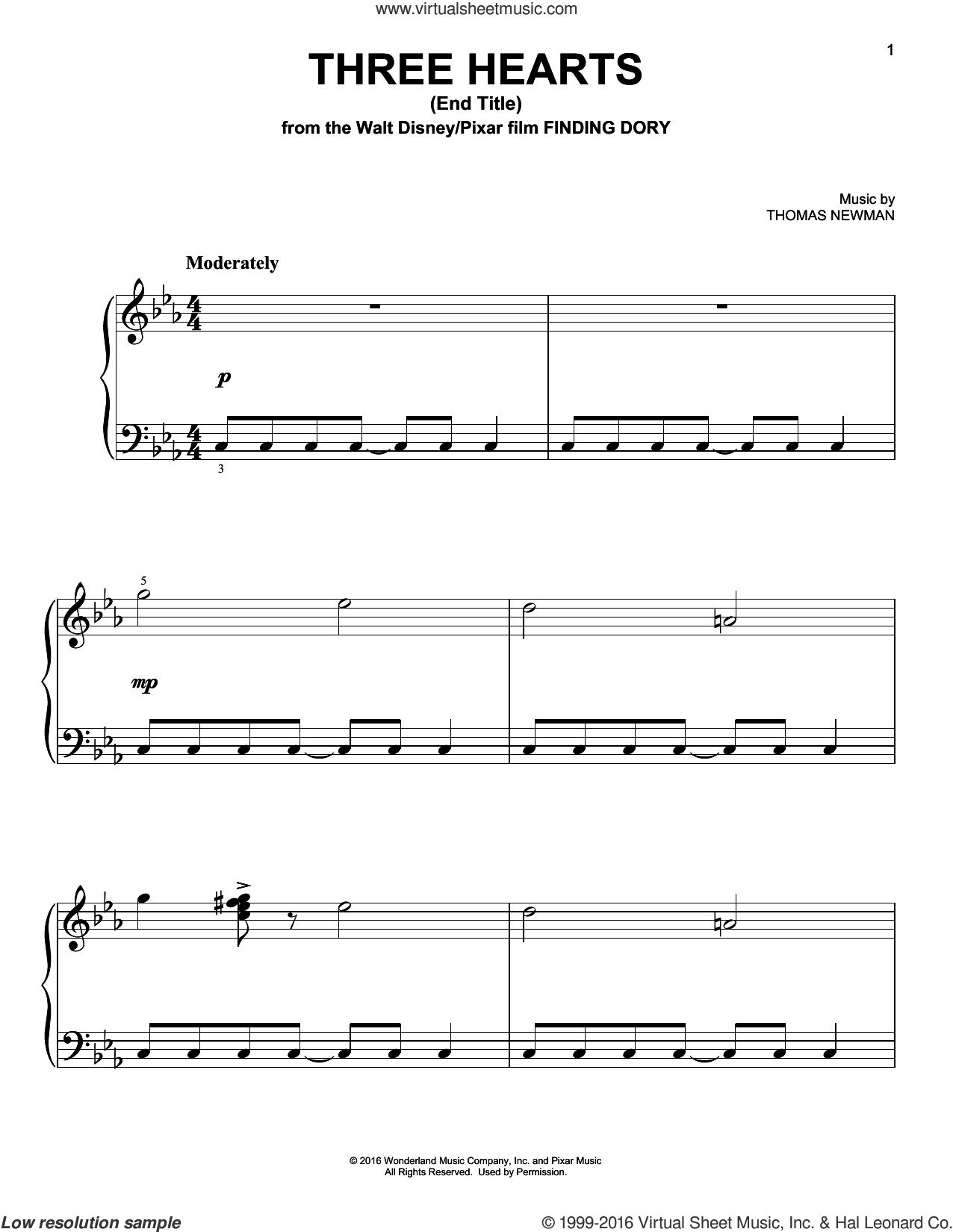 Three Hearts (End Title) sheet music for piano solo by Thomas Newman. Score Image Preview.