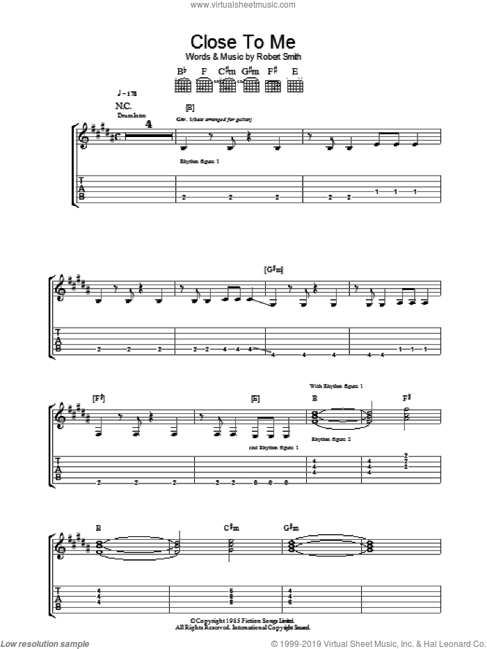 Close To Me sheet music for guitar (tablature) by Robert Smith and The Cure. Score Image Preview.