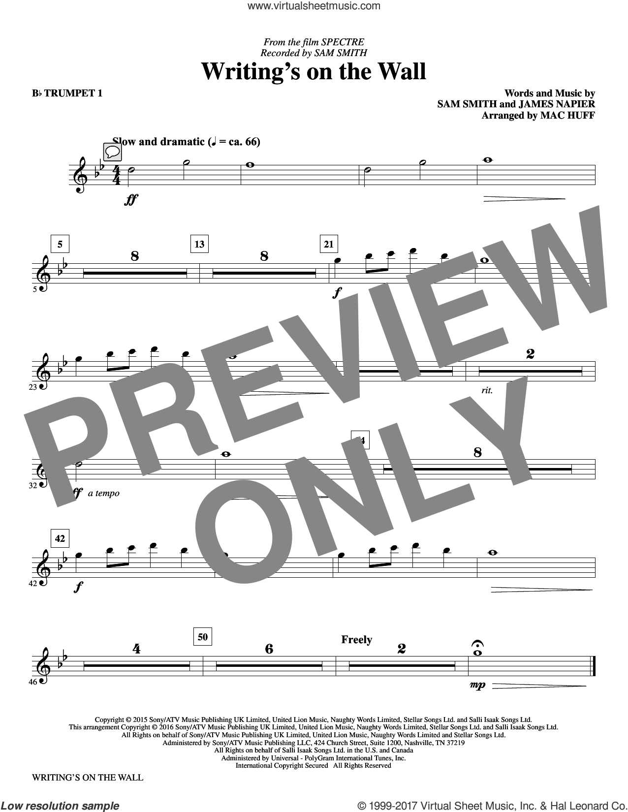 Writing's on the Wall (complete set of parts) sheet music for orchestra/band by Mac Huff, James Napier and Sam Smith, intermediate