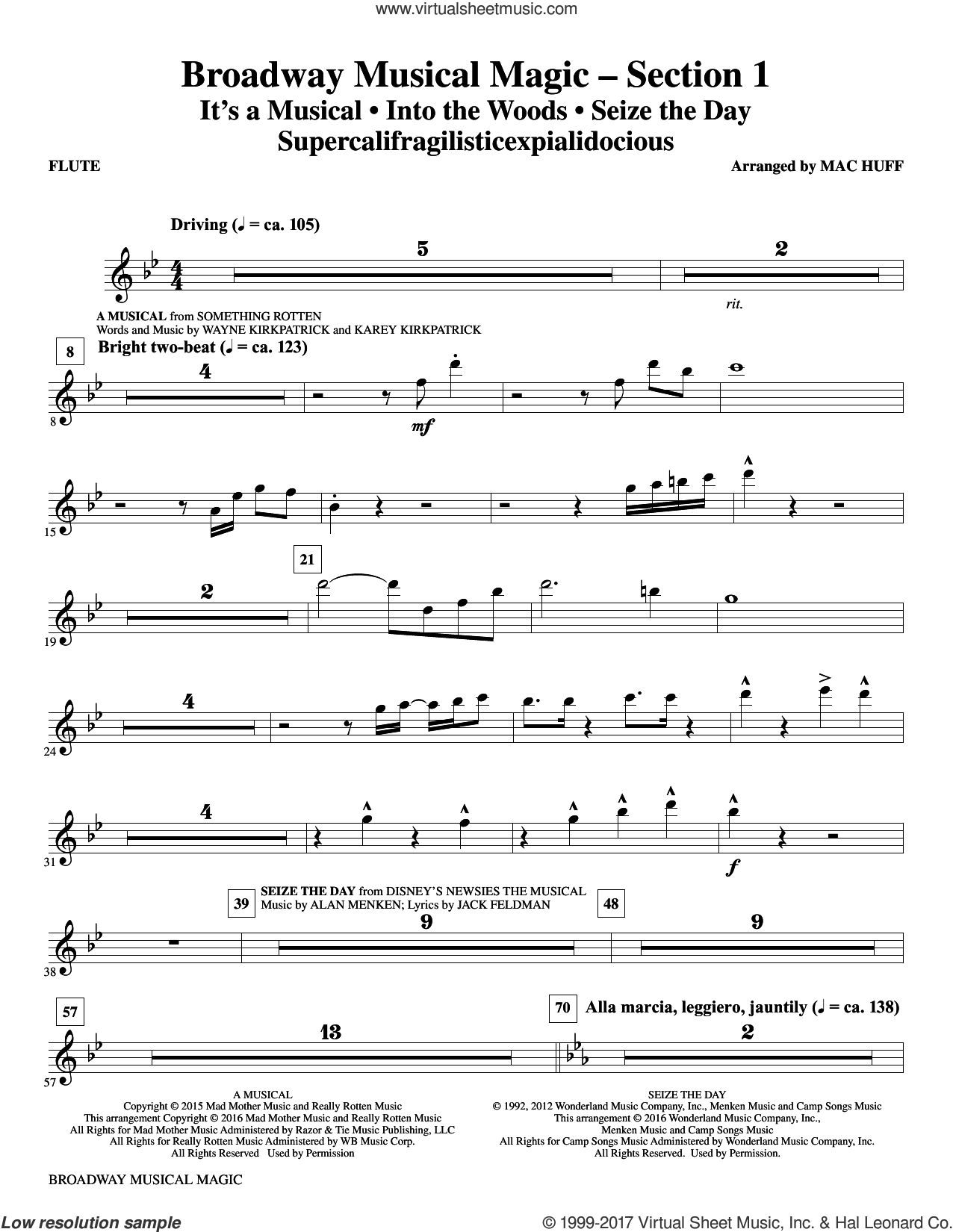 Broadway Musical Magic (complete set of parts) sheet music for orchestra/band by Mac Huff, Cast of Rent and Jonathan Larson, intermediate skill level