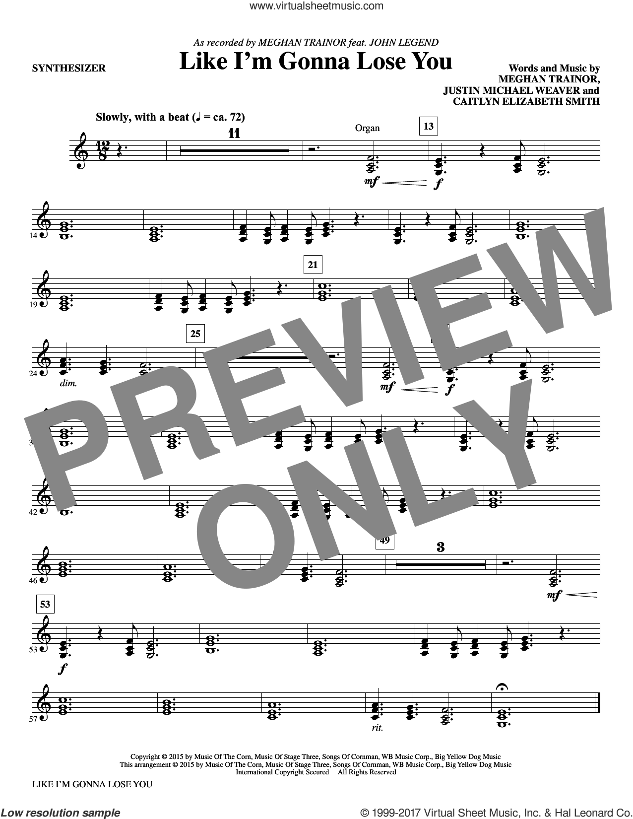 Like I'm Gonna Lose You (complete set of parts) sheet music for orchestra/band by Mac Huff, Justin Weaver and Meghan Trainor, intermediate orchestra/band. Score Image Preview.