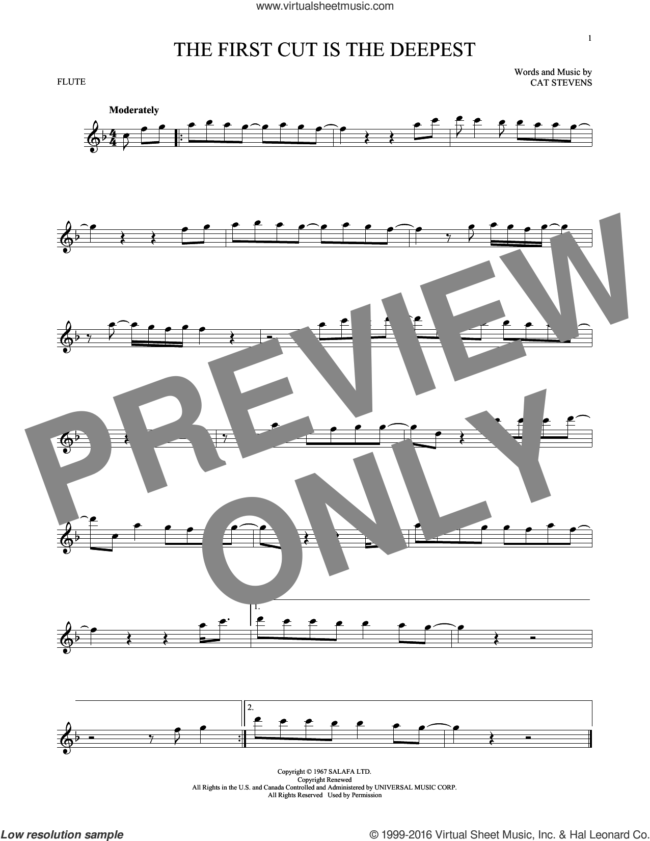 The First Cut Is The Deepest sheet music for flute solo by Cat Stevens, Rod Stewart and Sheryl Crow, intermediate skill level