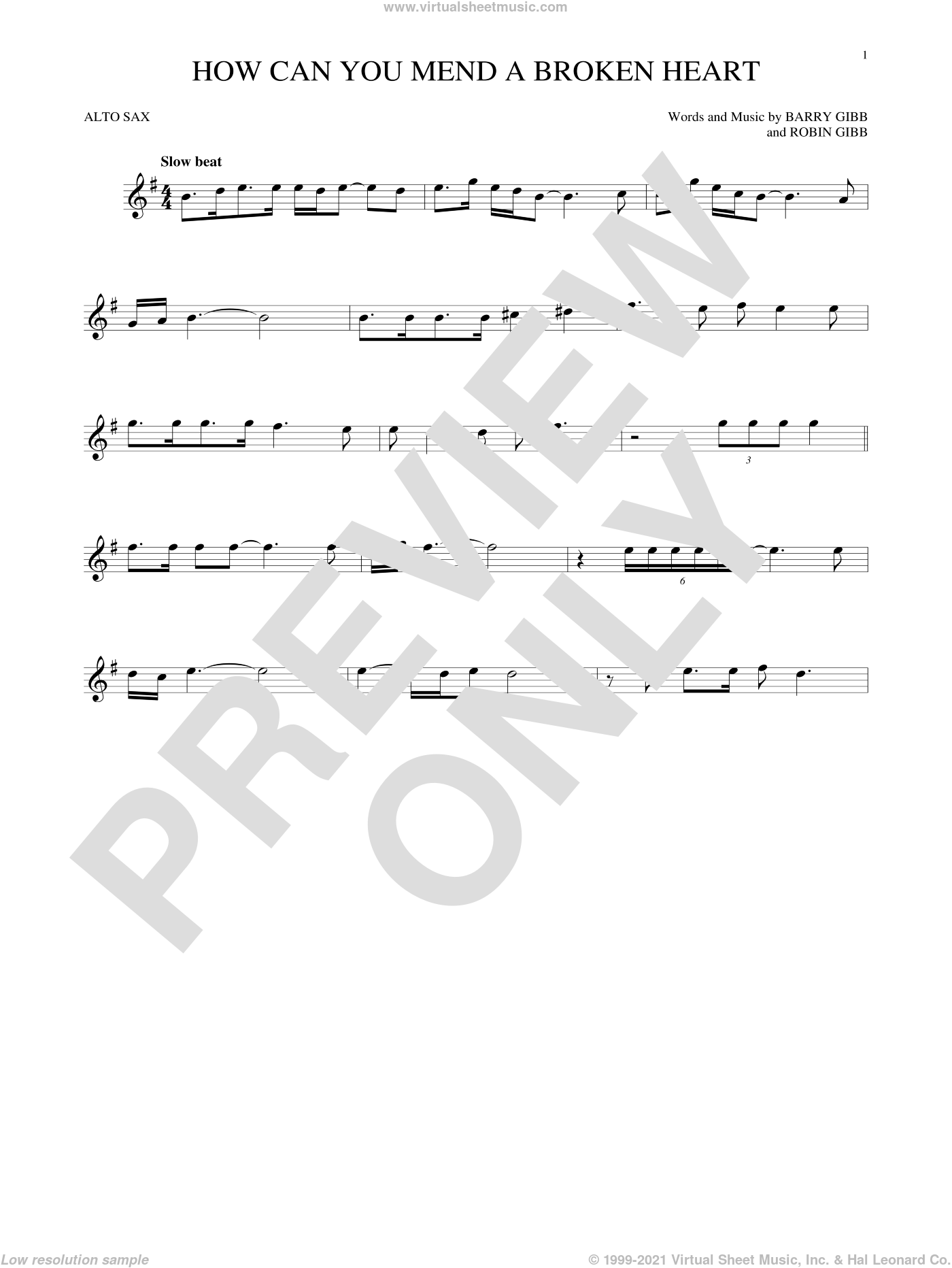 How Can You Mend A Broken Heart sheet music for alto saxophone solo by Bee Gees, Barry Gibb and Robin Gibb, intermediate. Score Image Preview.
