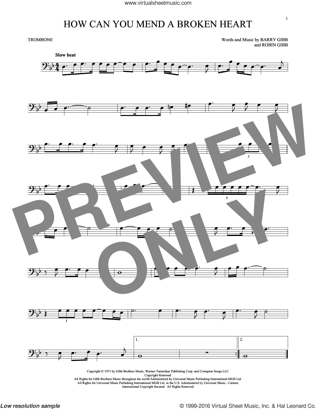 How Can You Mend A Broken Heart sheet music for trombone solo by Robin Gibb, Bee Gees and Barry Gibb. Score Image Preview.