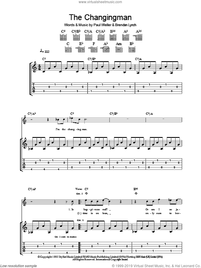 The Changingman sheet music for guitar (tablature) by Brendan Lynch and Paul Weller. Score Image Preview.