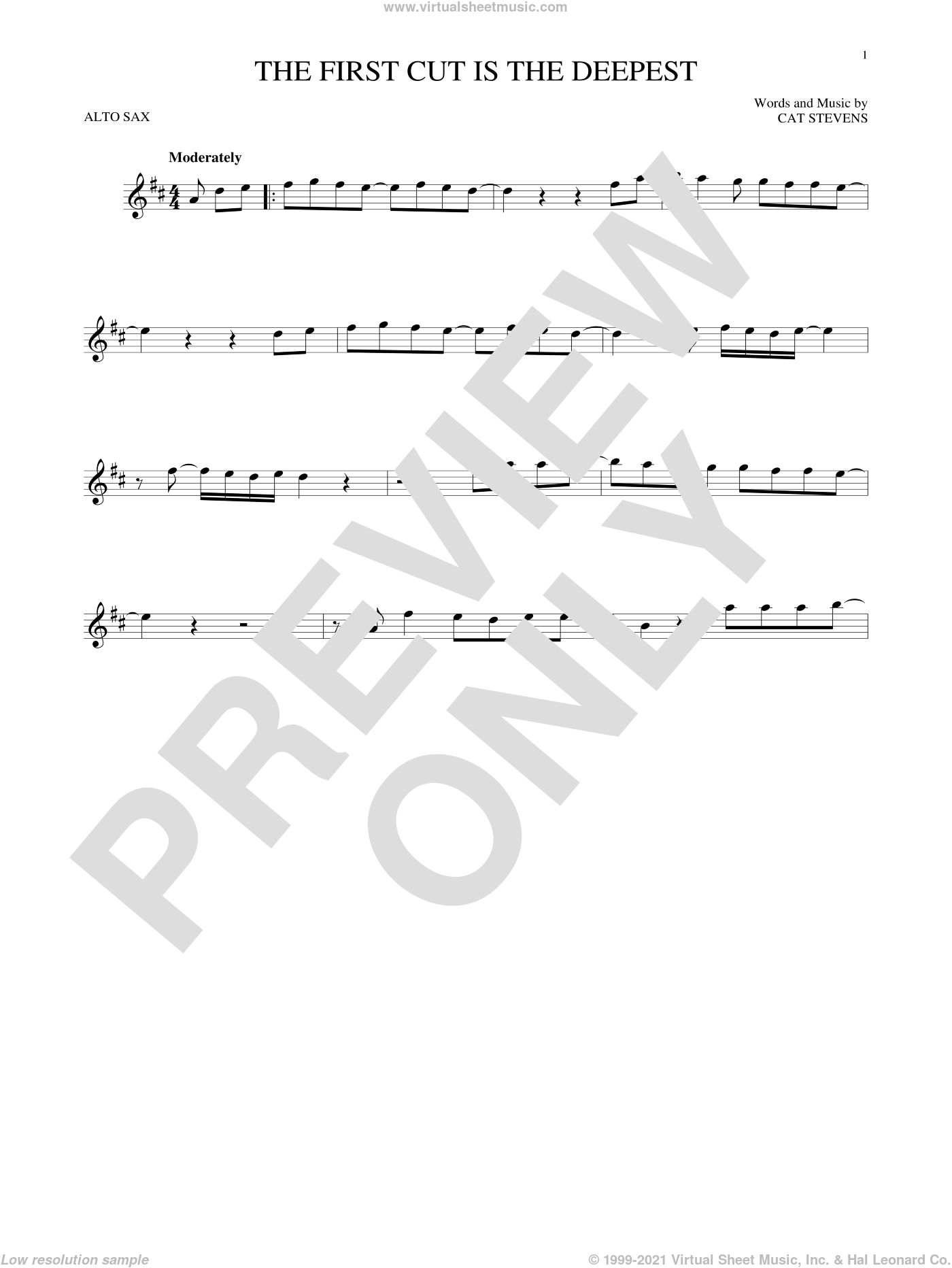 The First Cut Is The Deepest sheet music for alto saxophone solo by Cat Stevens, Rod Stewart and Sheryl Crow. Score Image Preview.