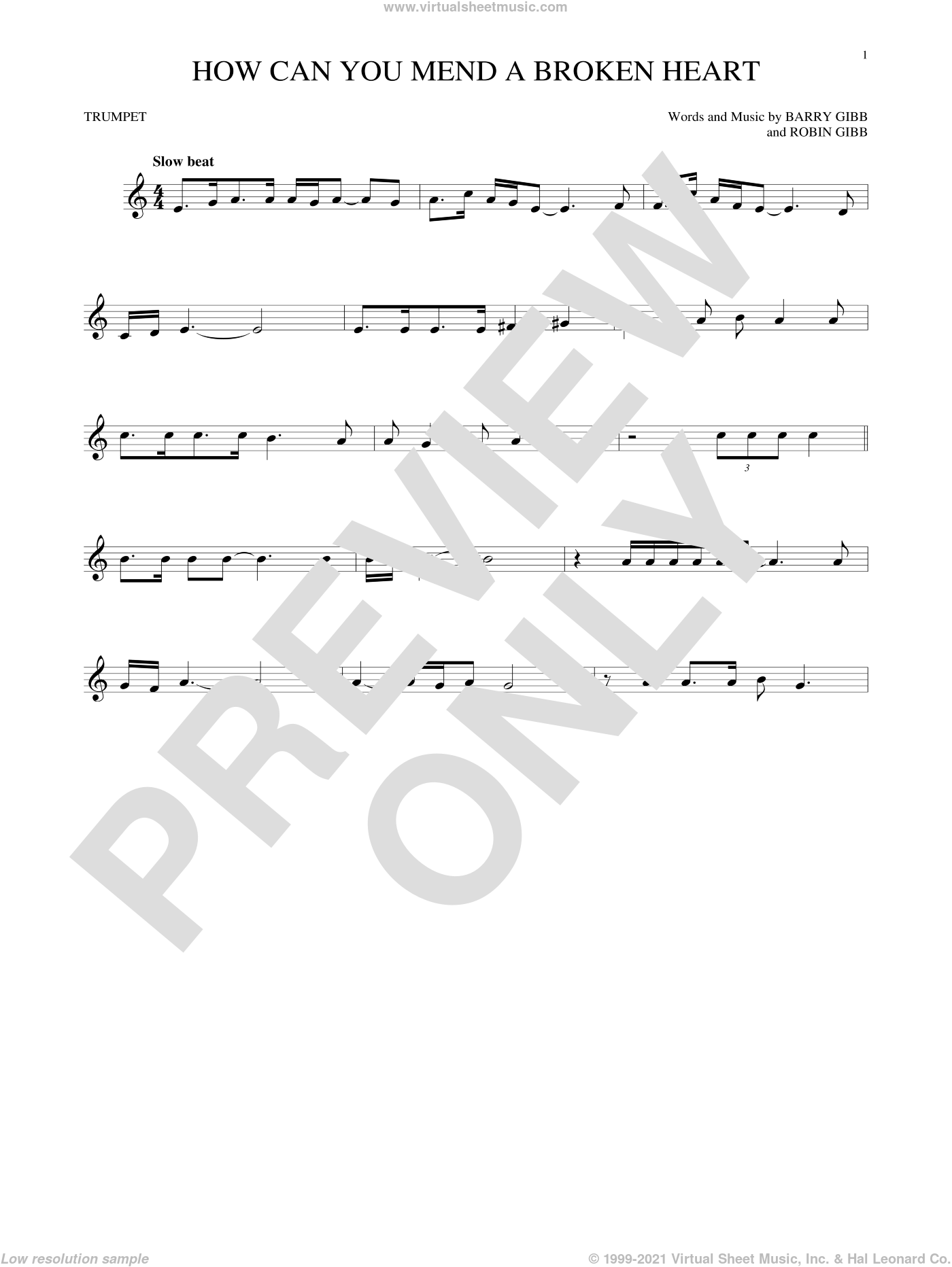 How Can You Mend A Broken Heart sheet music for trumpet solo by Barry Gibb, Bee Gees and Robin Gibb, intermediate skill level