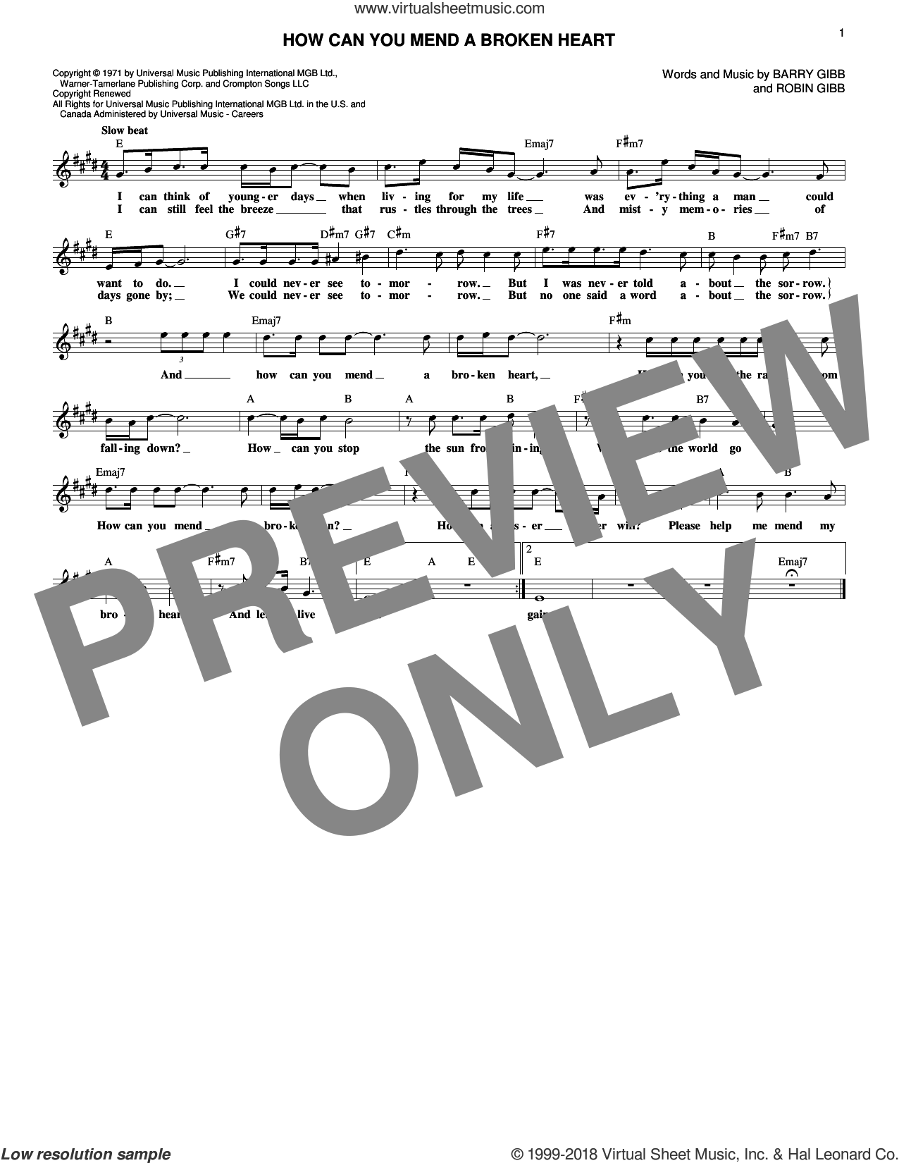 How Can You Mend A Broken Heart sheet music for voice and other instruments (fake book) by Barry Gibb, Bee Gees and Robin Gibb. Score Image Preview.