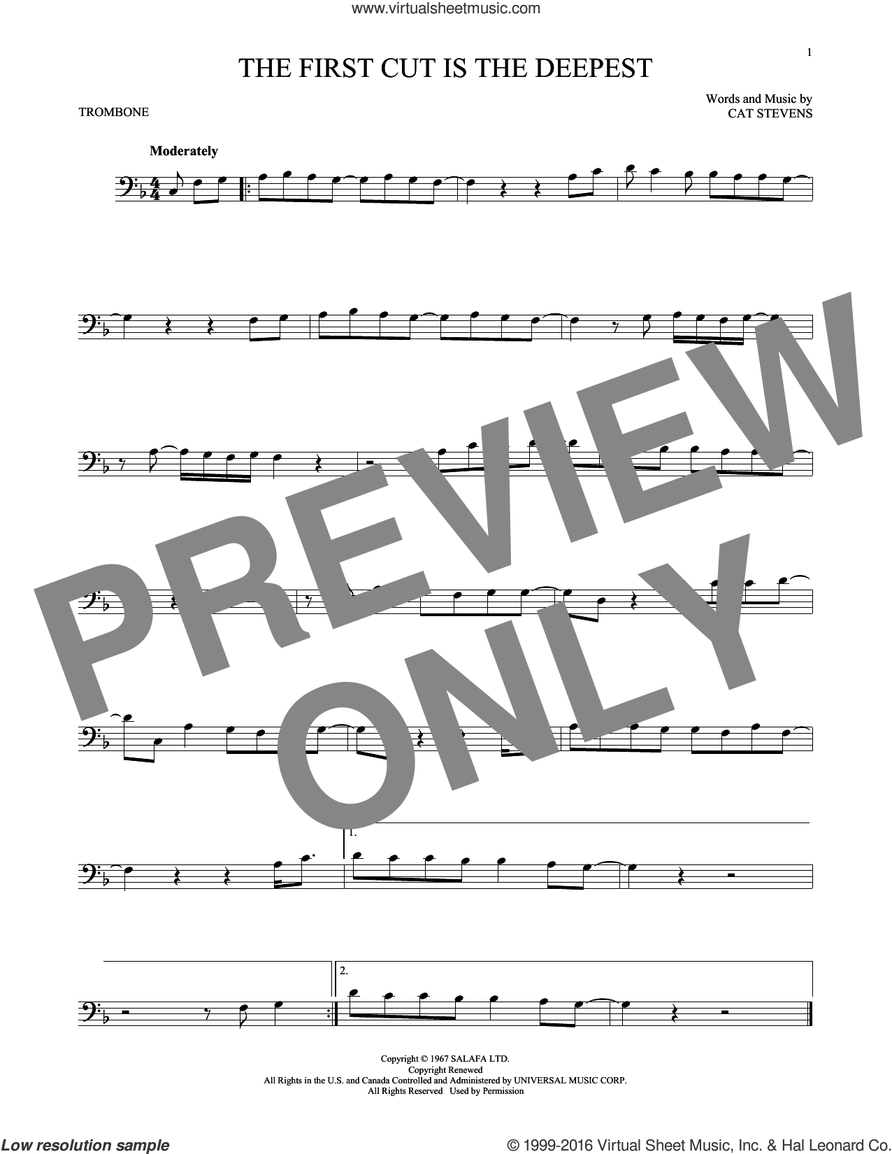 The First Cut Is The Deepest sheet music for trombone solo by Cat Stevens, Rod Stewart and Sheryl Crow, intermediate skill level