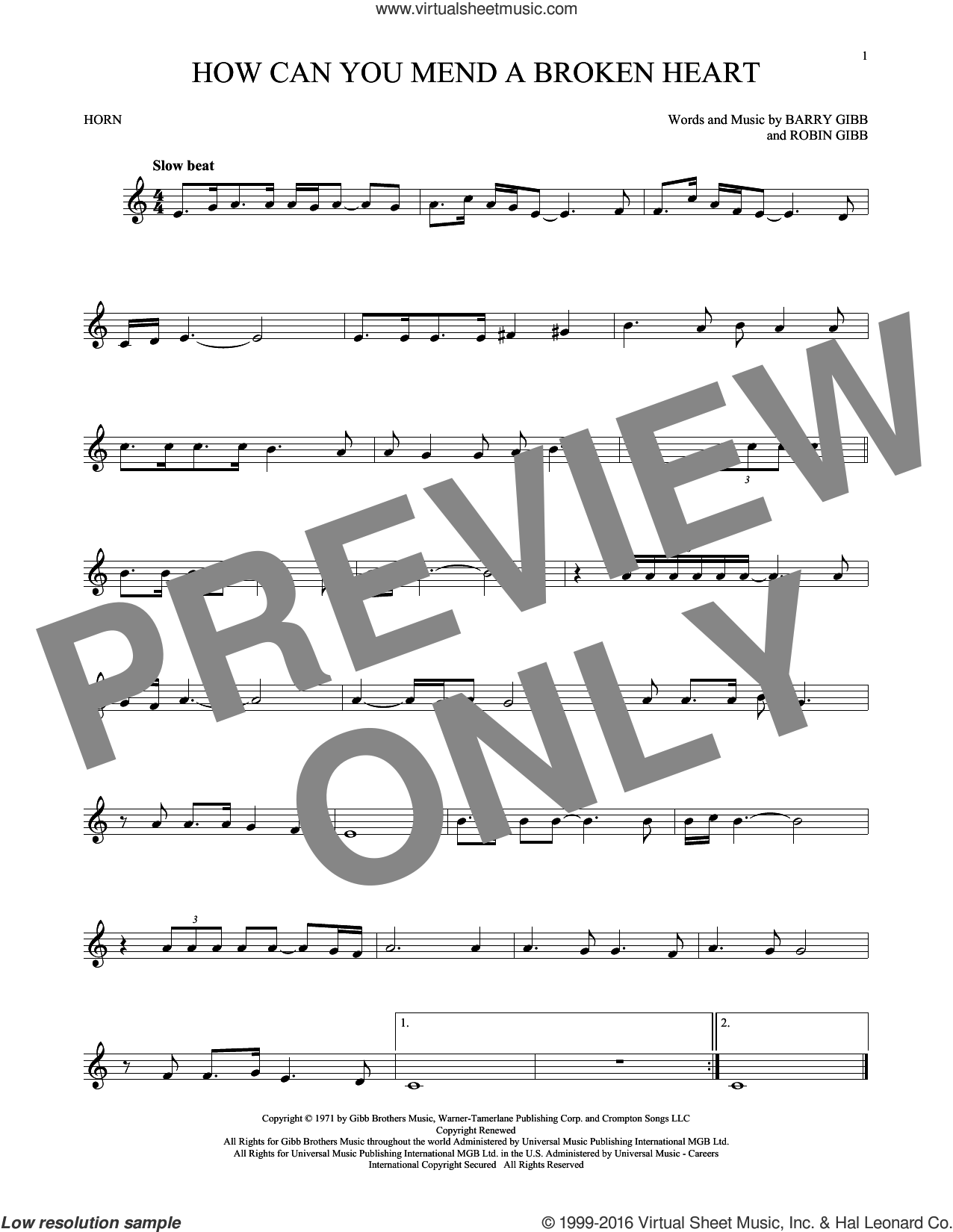 How Can You Mend A Broken Heart sheet music for horn solo by Robin Gibb, Bee Gees and Barry Gibb. Score Image Preview.