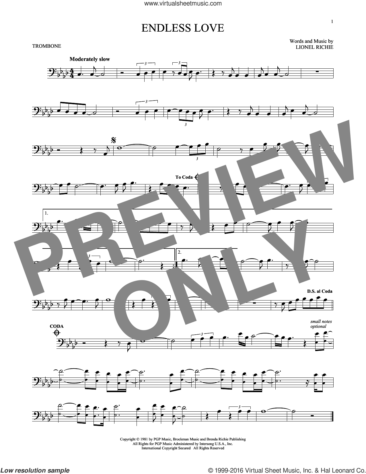 Endless Love sheet music for trombone solo by Diana Ross & Lionel Richie, intermediate. Score Image Preview.