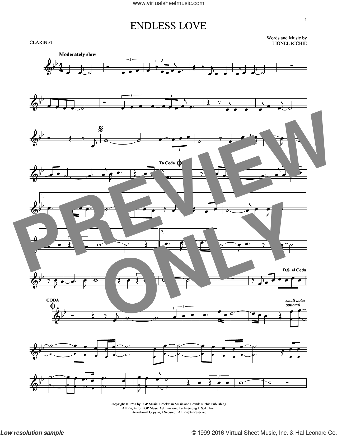 Endless Love sheet music for clarinet solo by Diana Ross & Lionel Richie, intermediate skill level