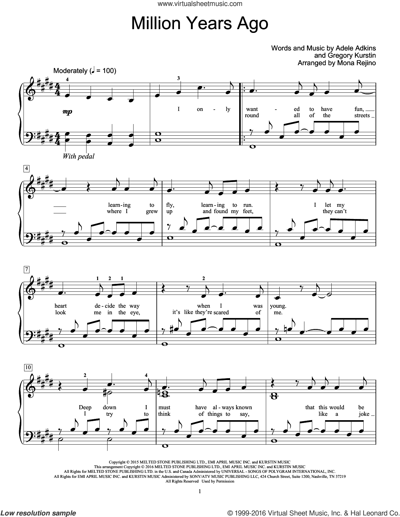 Million Years Ago sheet music for piano solo (elementary) by Adele and Mona Rejino. Score Image Preview.