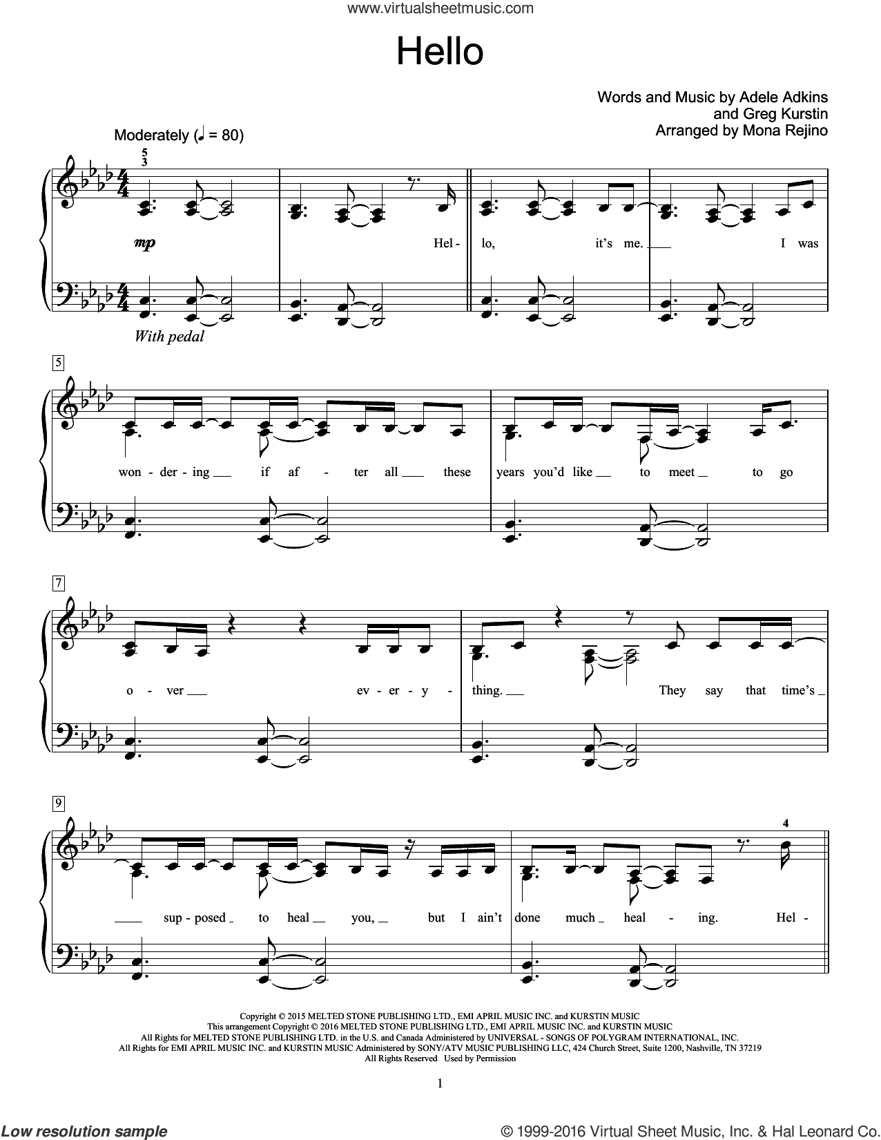 Hello sheet music for piano solo (elementary) by Greg Kurstin, Adele, Mona Rejino and Adele Adkins. Score Image Preview.