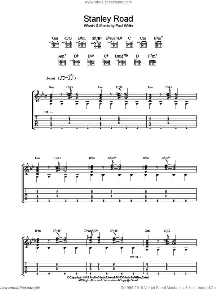 Stanley Road sheet music for guitar (tablature) by Paul Weller. Score Image Preview.