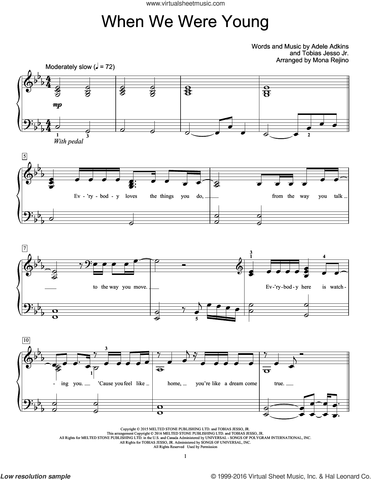 When We Were Young sheet music for piano solo (elementary) by Tobias Jesso Jr., Adele, Mona Rejino and Adele Adkins. Score Image Preview.