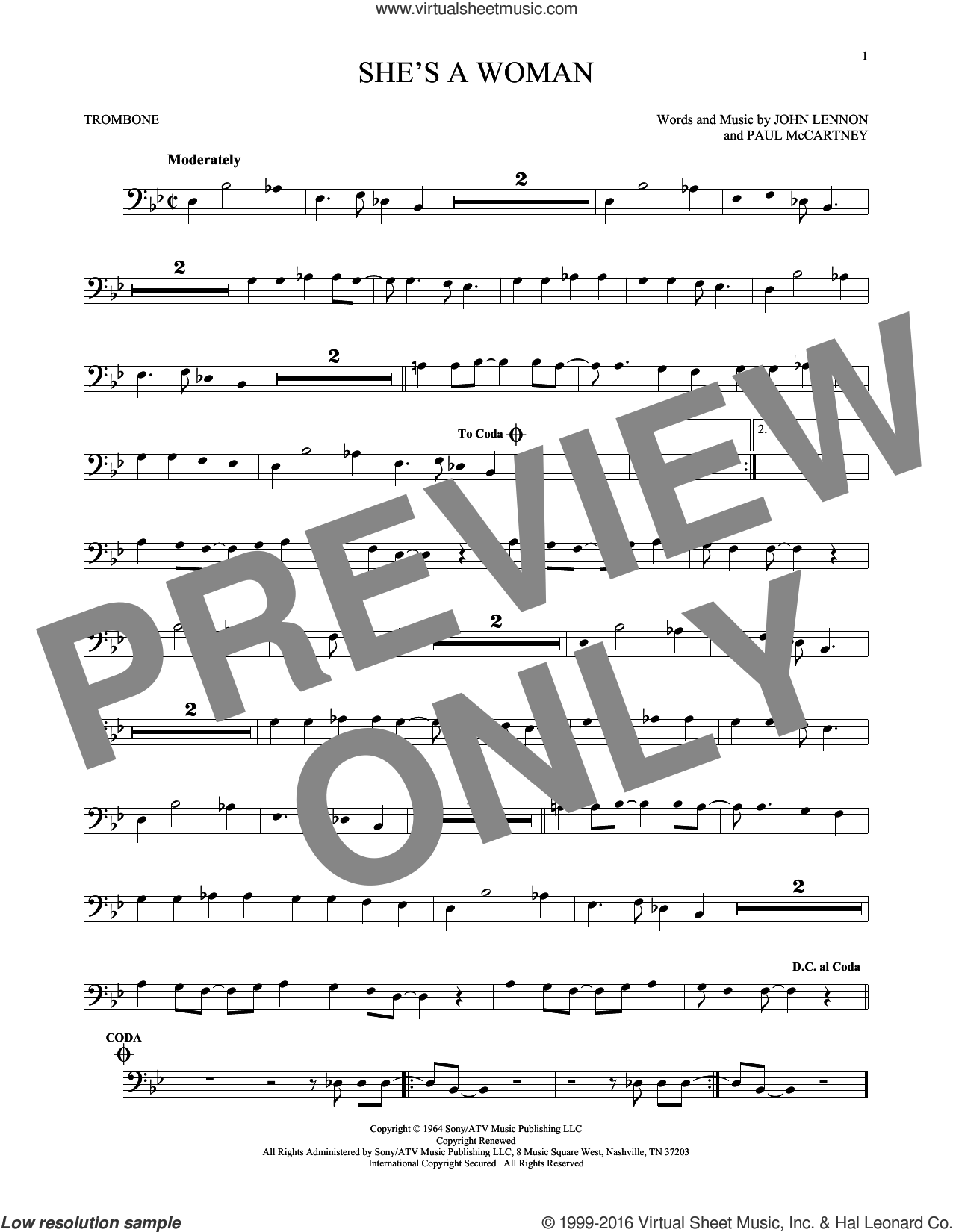 She's A Woman sheet music for trombone solo by Paul McCartney