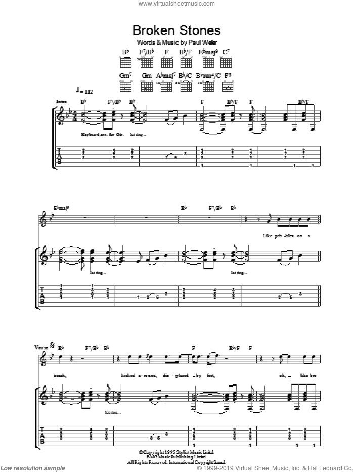 Broken Stones sheet music for guitar (tablature) by Paul Weller, intermediate. Score Image Preview.