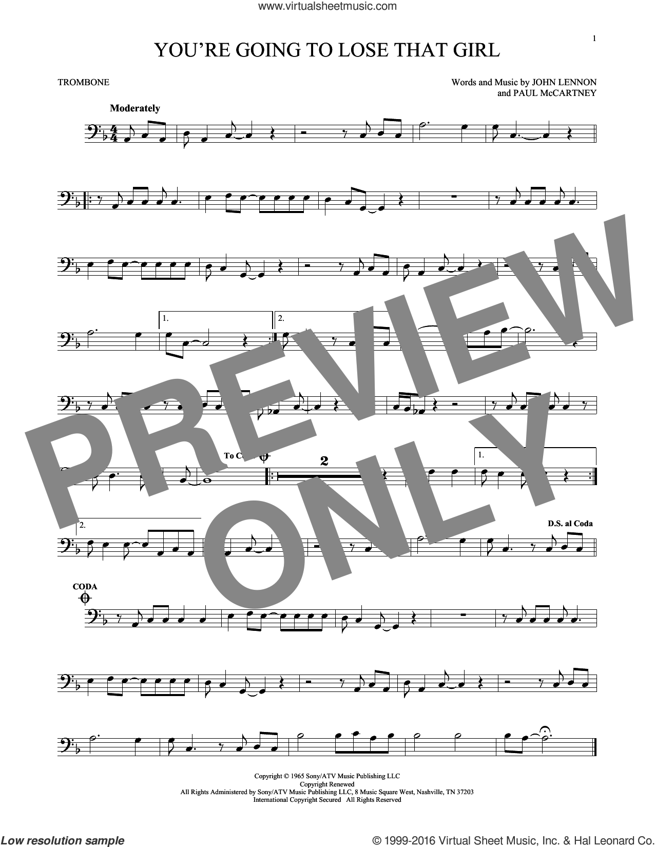 You're Going To Lose That Girl sheet music for trombone solo by Paul McCartney, The Beatles and John Lennon. Score Image Preview.