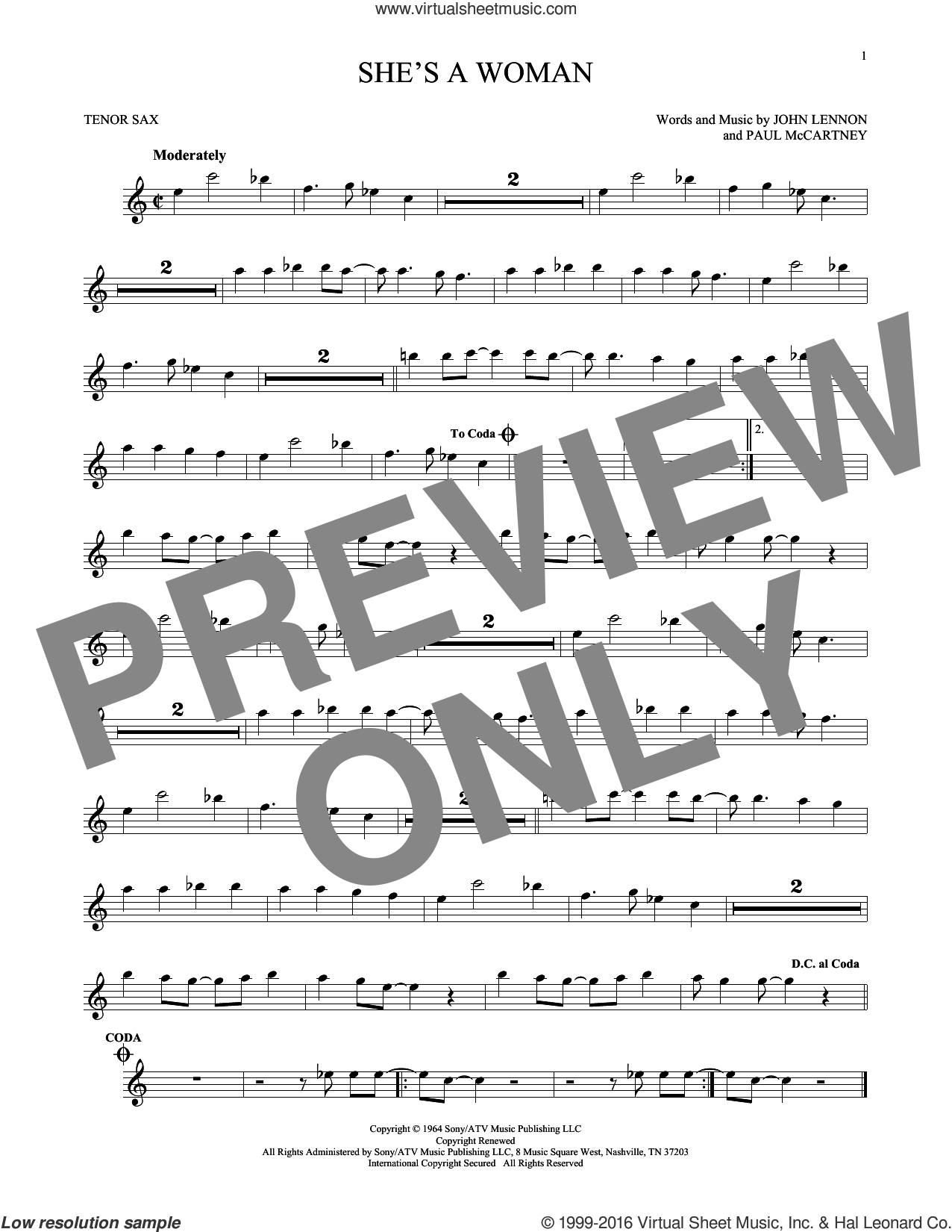 She's A Woman sheet music for tenor saxophone solo by Paul McCartney, The Beatles and John Lennon. Score Image Preview.