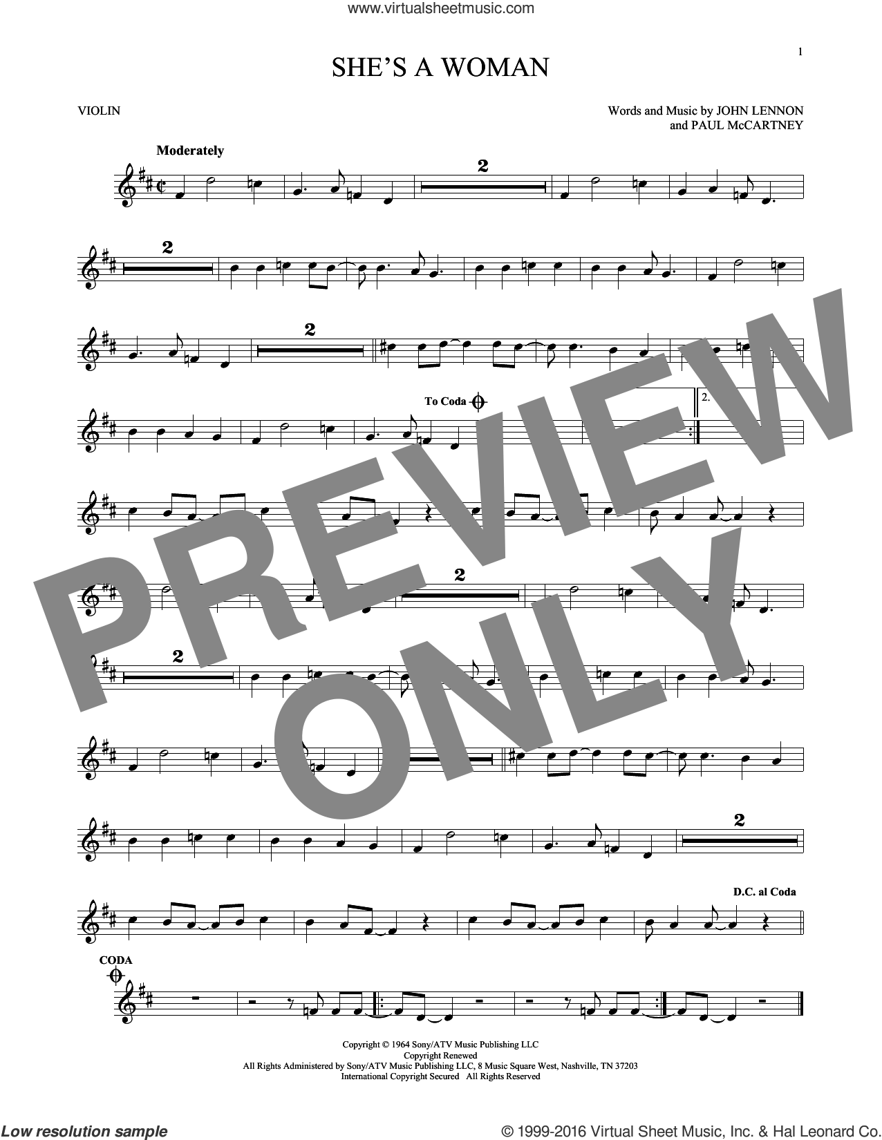 She's A Woman sheet music for violin solo by The Beatles, John Lennon and Paul McCartney. Score Image Preview.