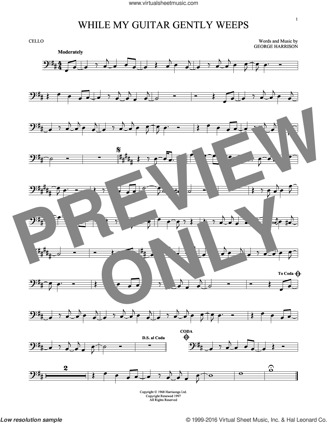 While My Guitar Gently Weeps sheet music for cello solo by The Beatles, Santana featuring India.Arie & Yo-Yo Ma and George Harrison, intermediate skill level