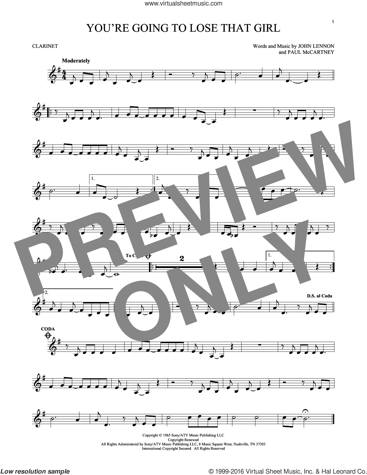 You're Going To Lose That Girl sheet music for clarinet solo by The Beatles, John Lennon and Paul McCartney, intermediate skill level